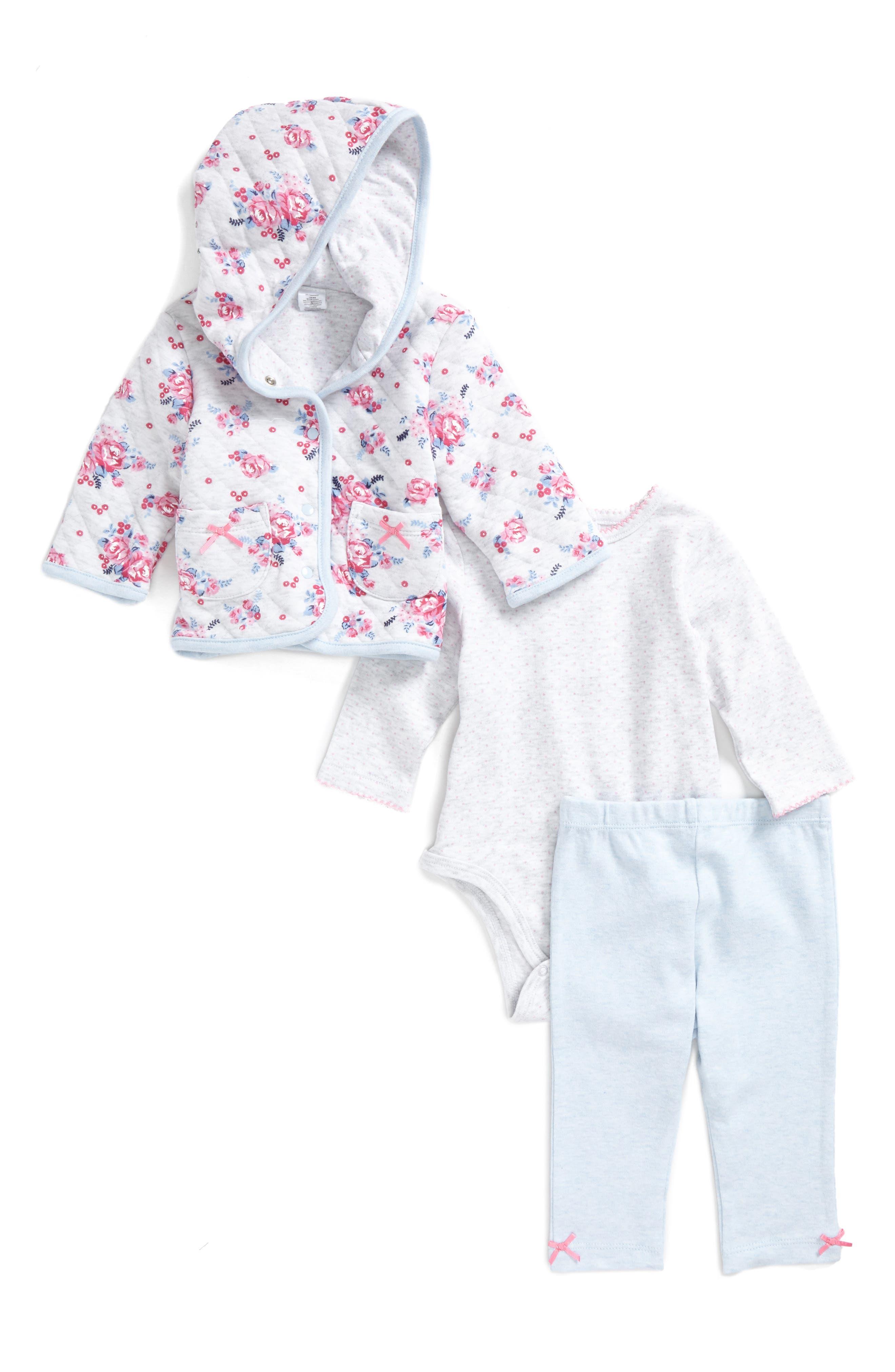 Main Image - Little Me Rose Dot Quilted Hoodie Bodysuit & Leggings Set (Baby Girls)