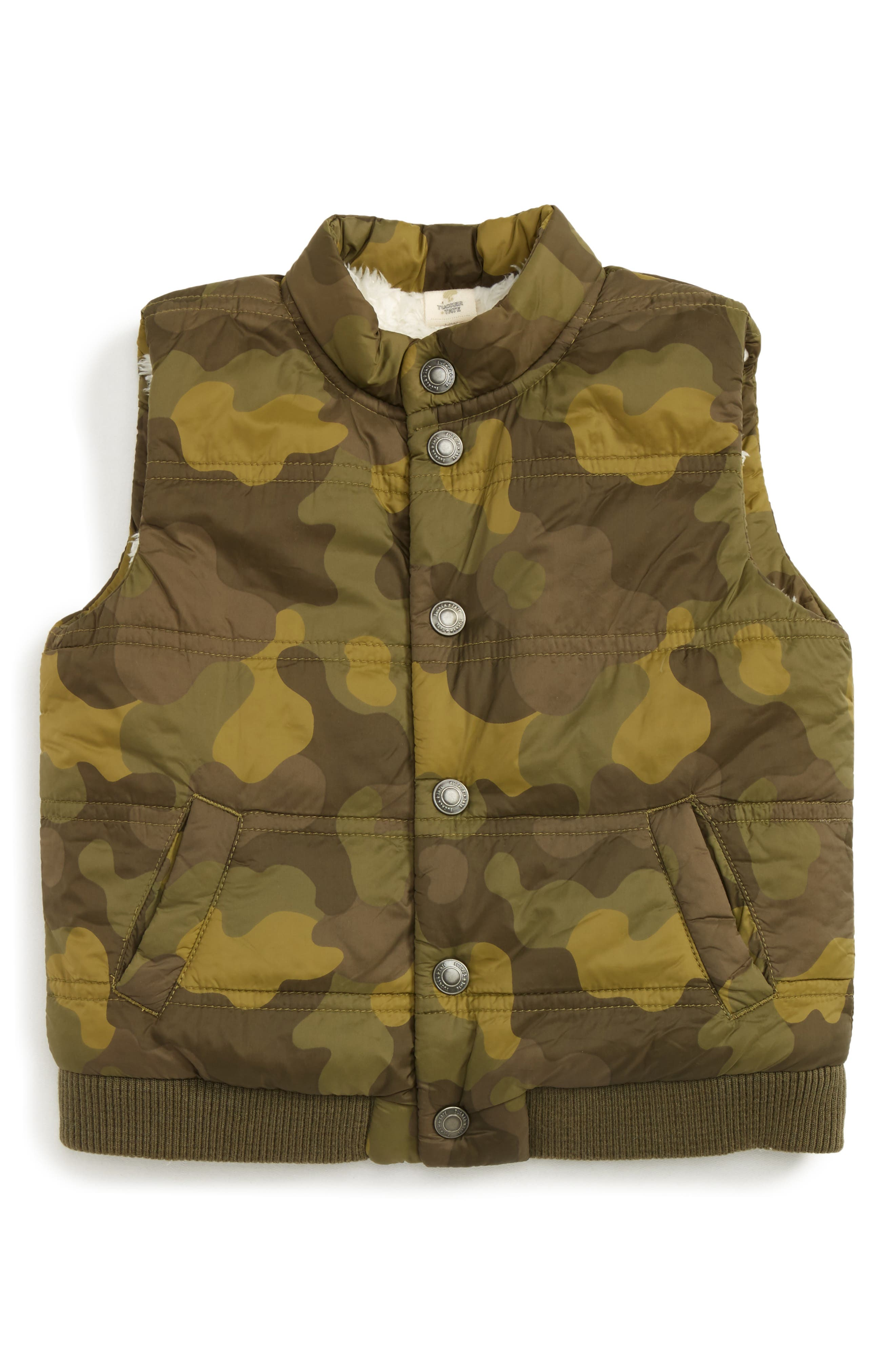Quilted Puffer Vest,                         Main,                         color, Olive Dark Camo