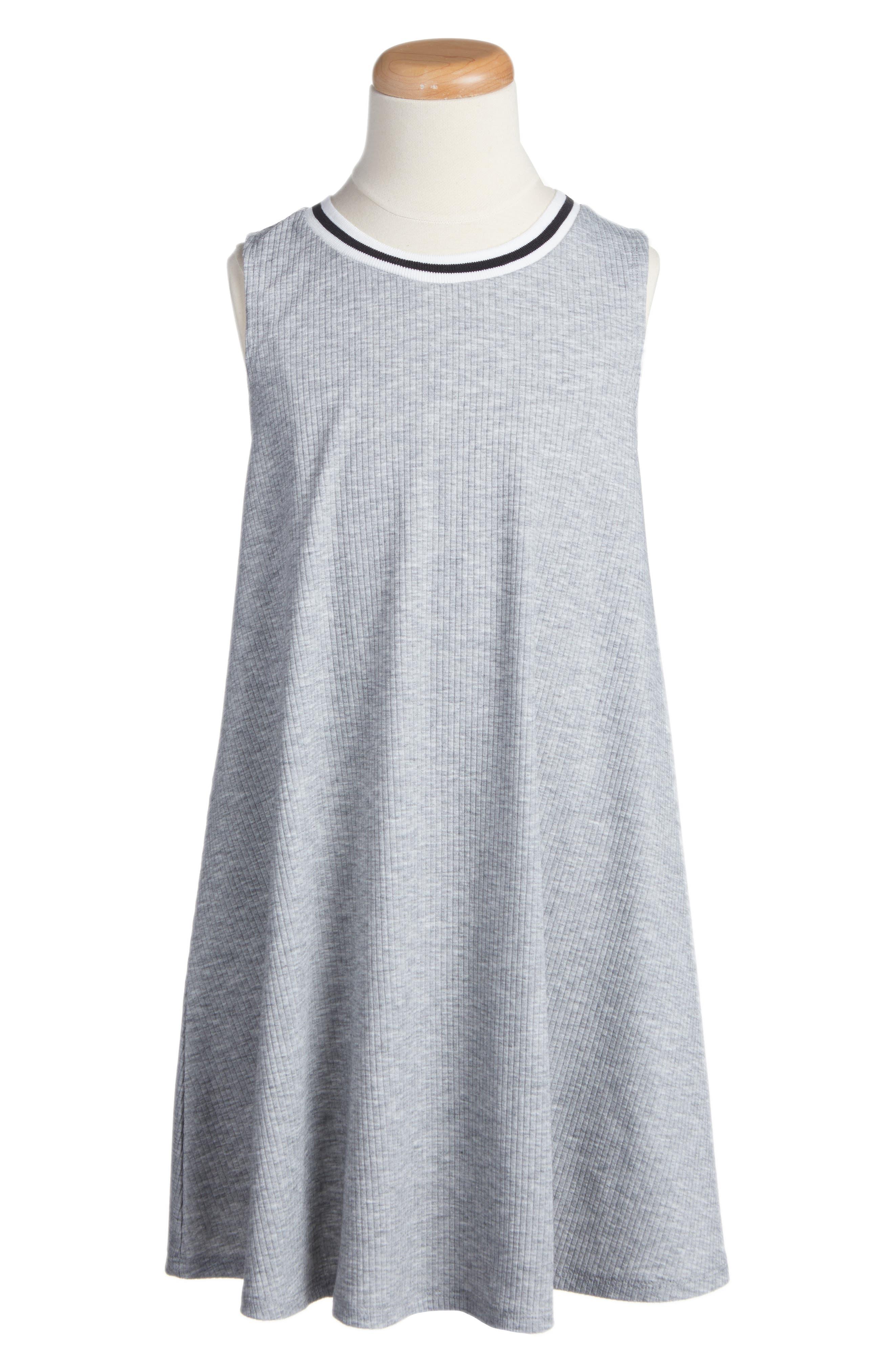 Ringer Tank Dress,                             Main thumbnail 1, color,                             Heather Gray