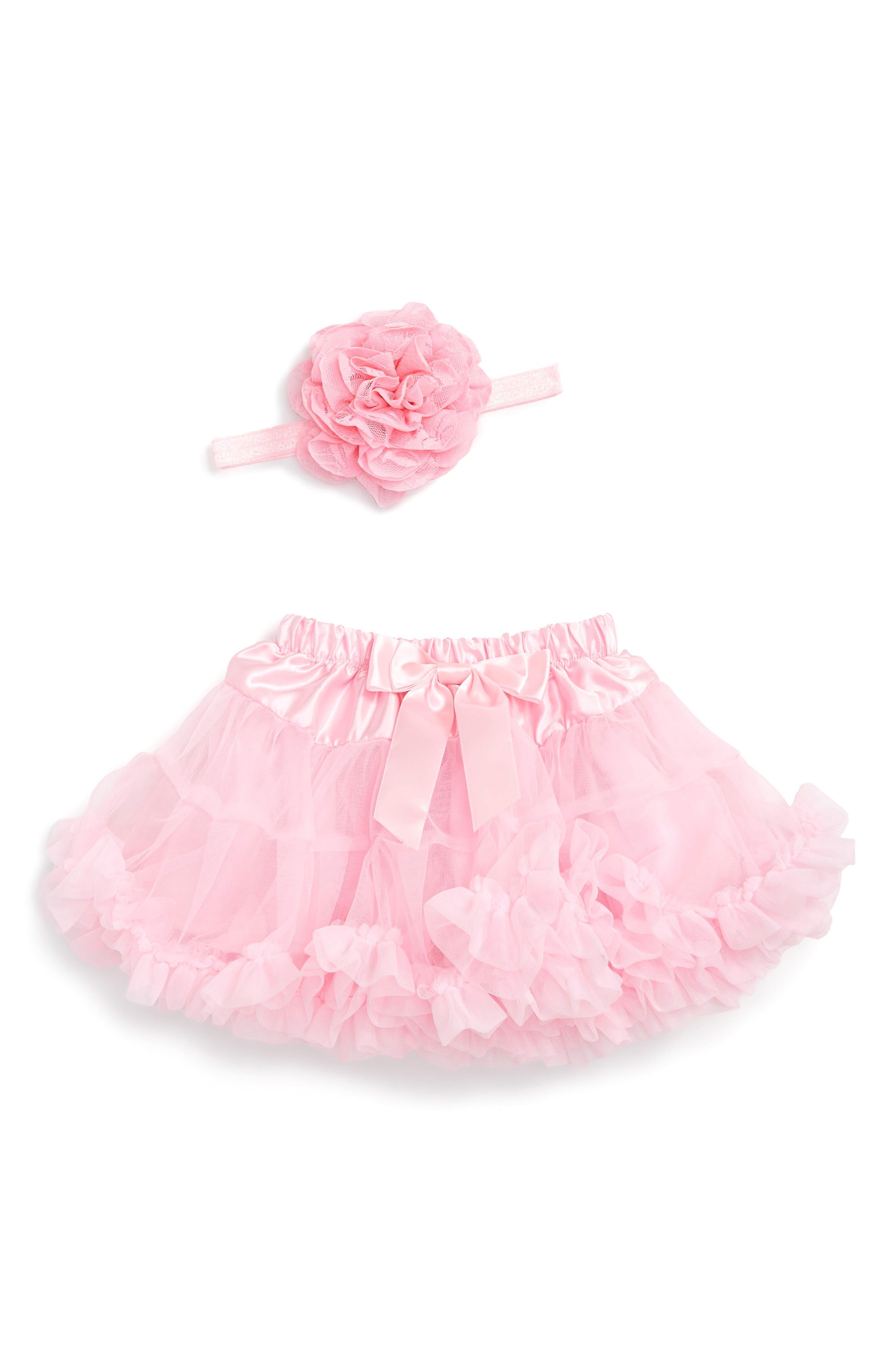Tutu & Floral Appliqué Head Wrap Set,                         Main,                         color, Pink