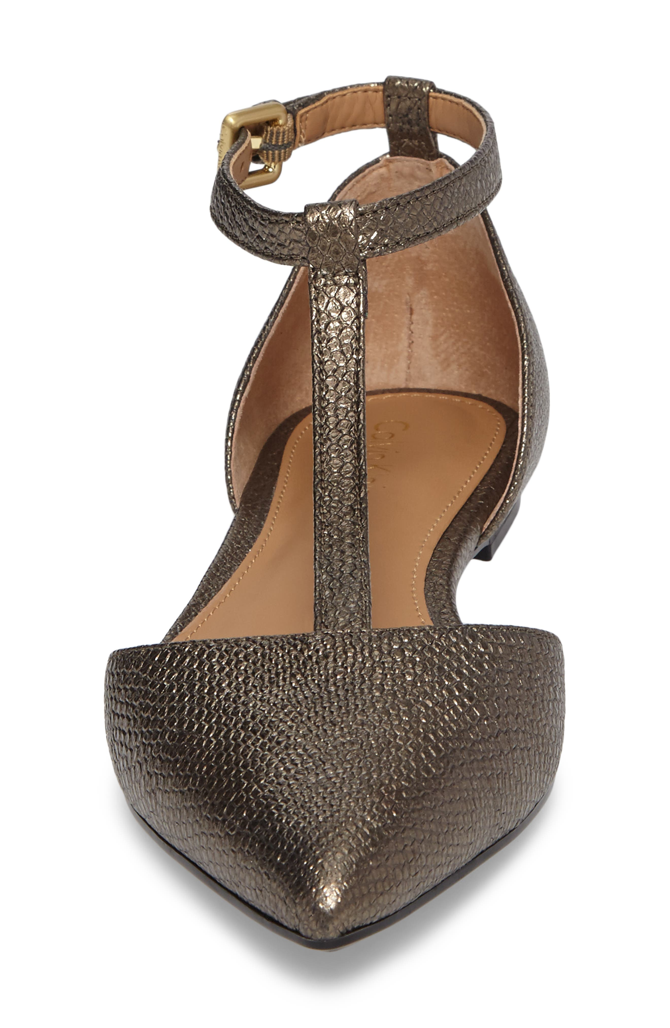 'Ghita' T-Strap Flat,                             Alternate thumbnail 4, color,                             Gold Foiled Leather