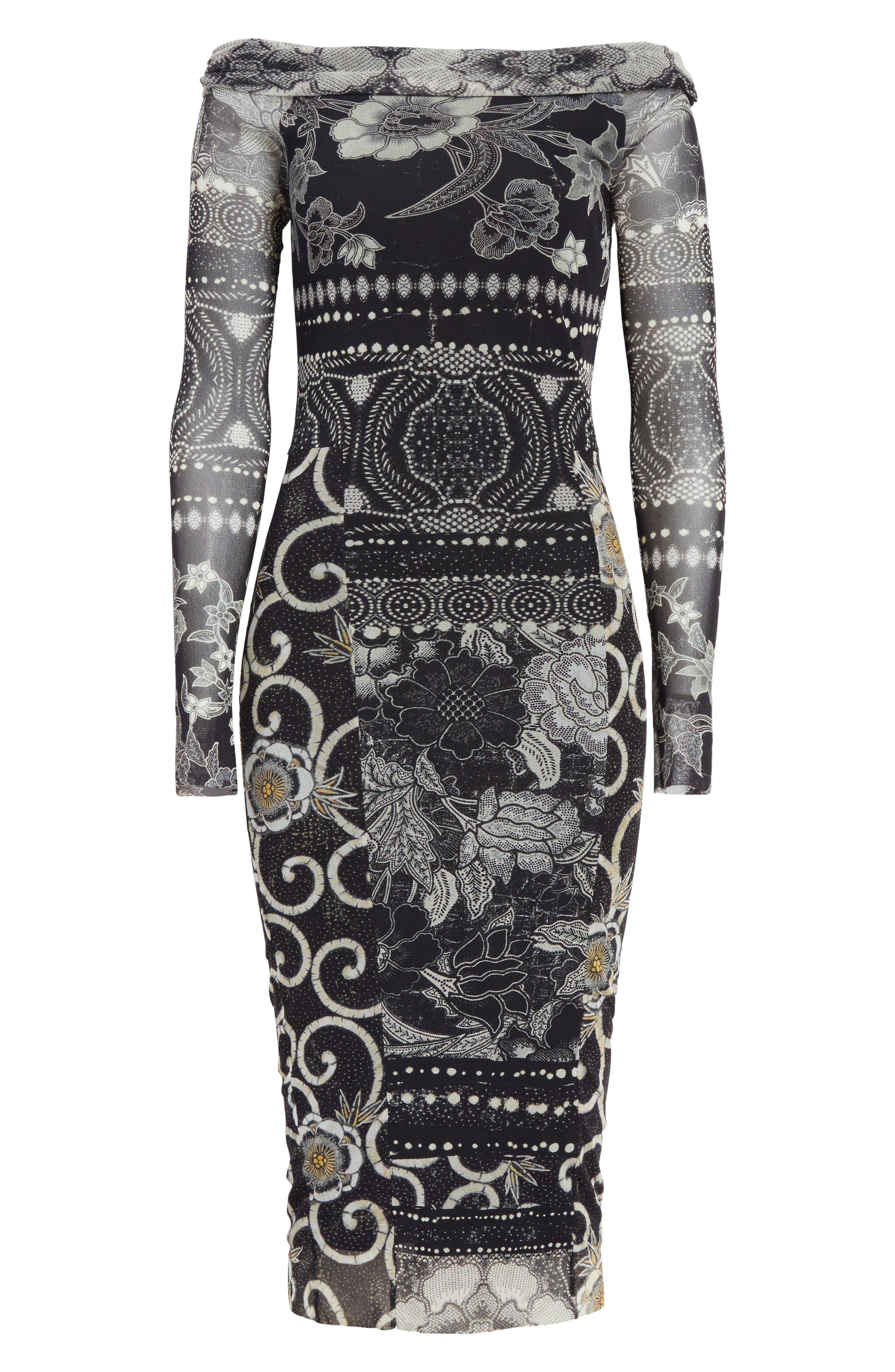 Mixed Print Tulle Body-Ccon Dress,                             Alternate thumbnail 7, color,                             Nero