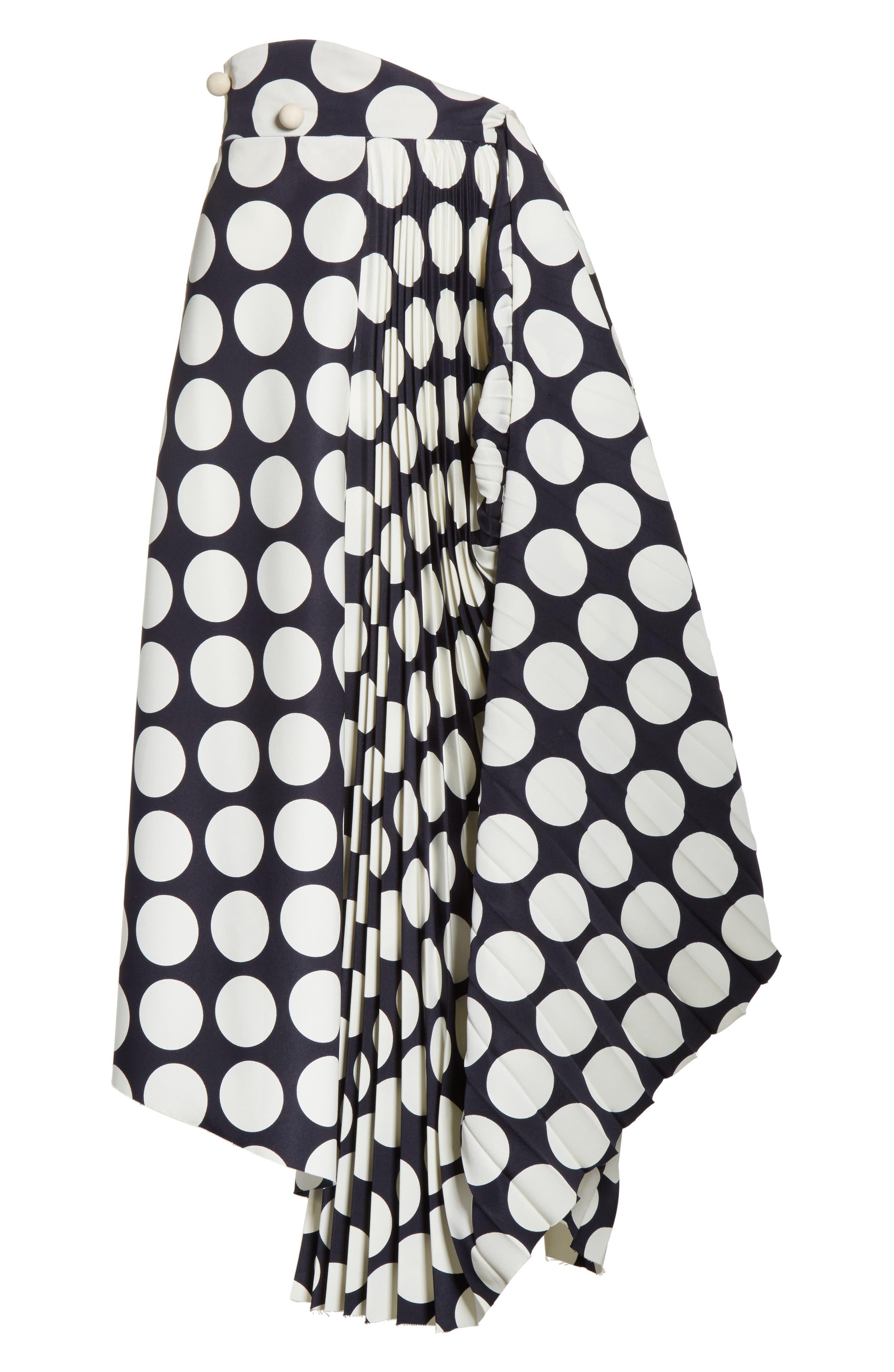 Giant Polka Dot Pleated Skirt,                             Alternate thumbnail 8, color,                             Navy/ Off-White