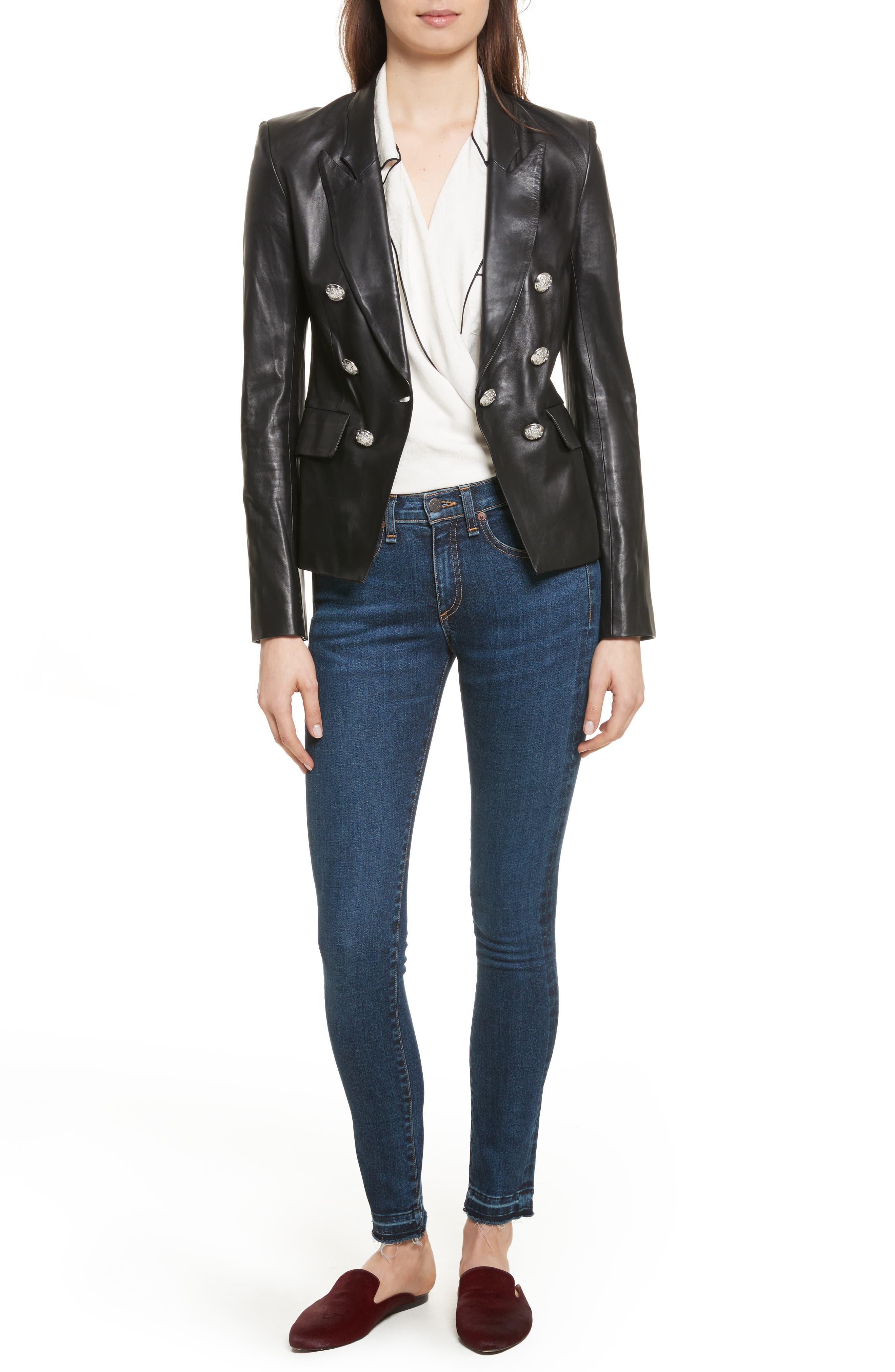 Cooke Leather Jacket,                             Alternate thumbnail 7, color,                             Black