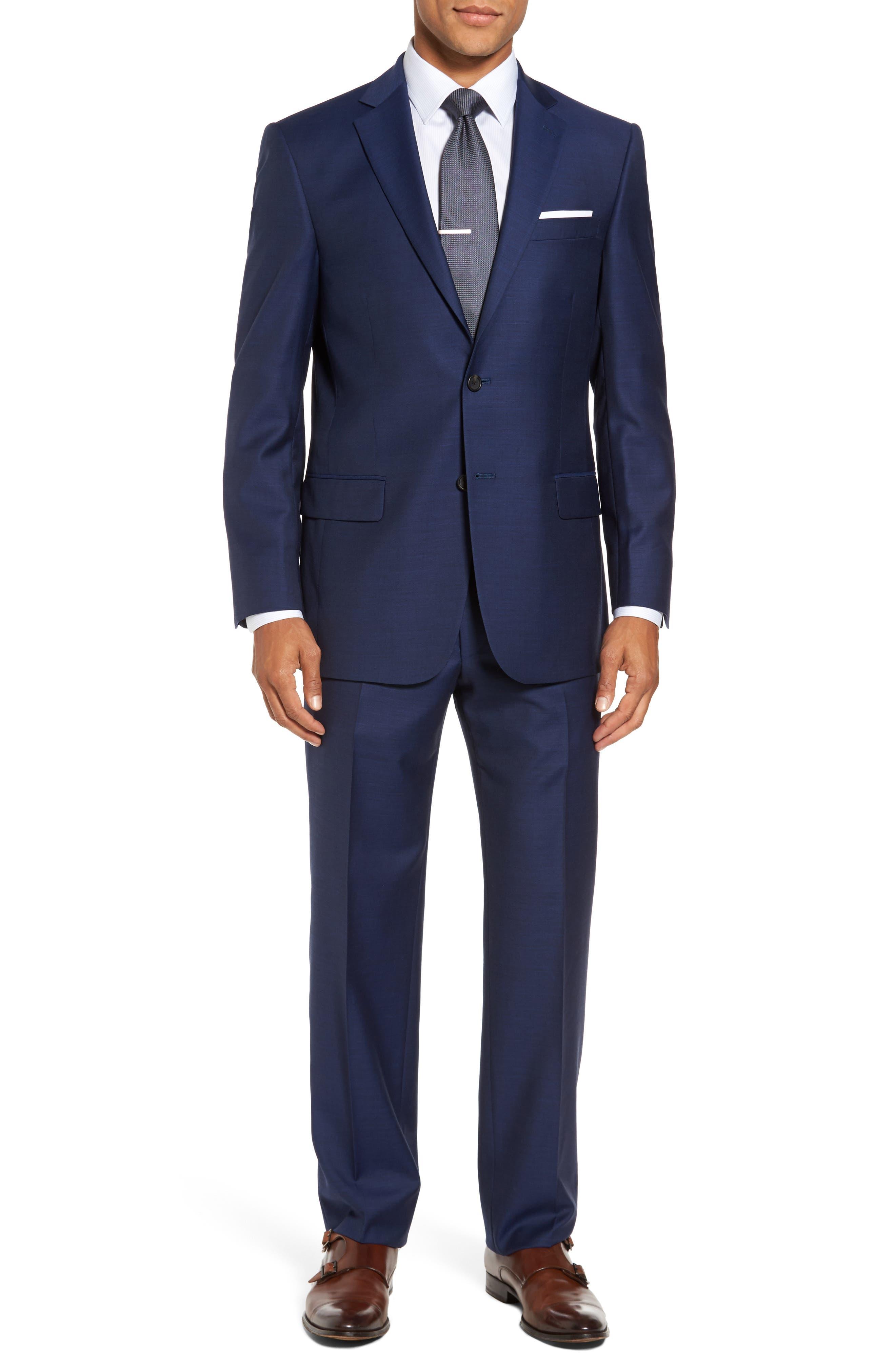 Classic Fit Solid Wool Suit,                         Main,                         color, Plain Blue