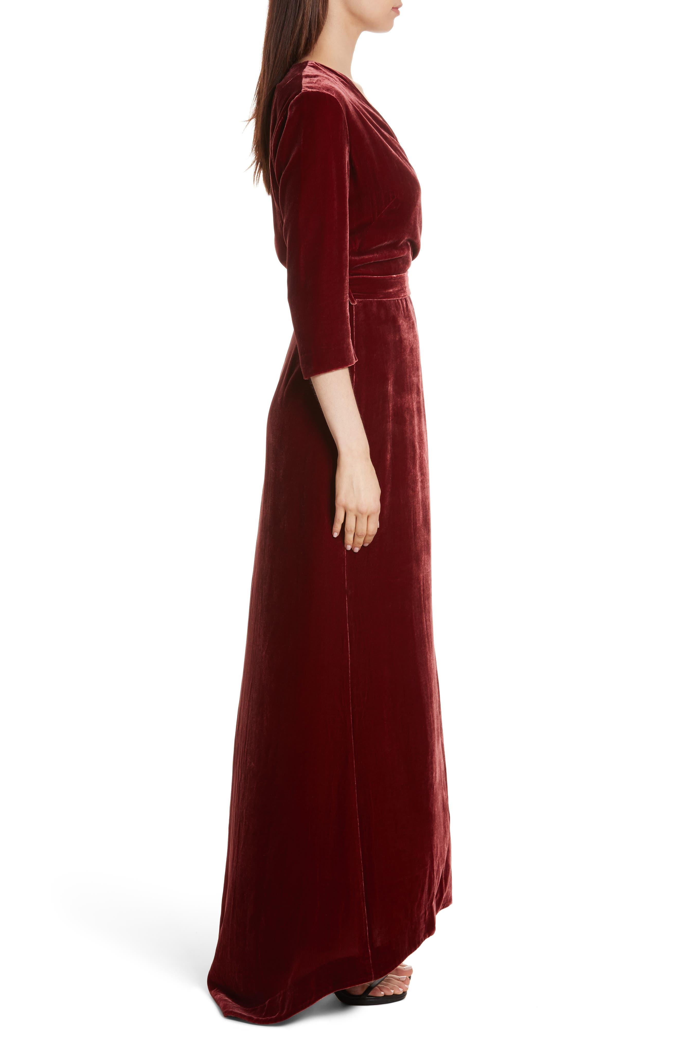 Rosalind Velvet Maxi Wrap Dress,                             Alternate thumbnail 4, color,                             Ruby