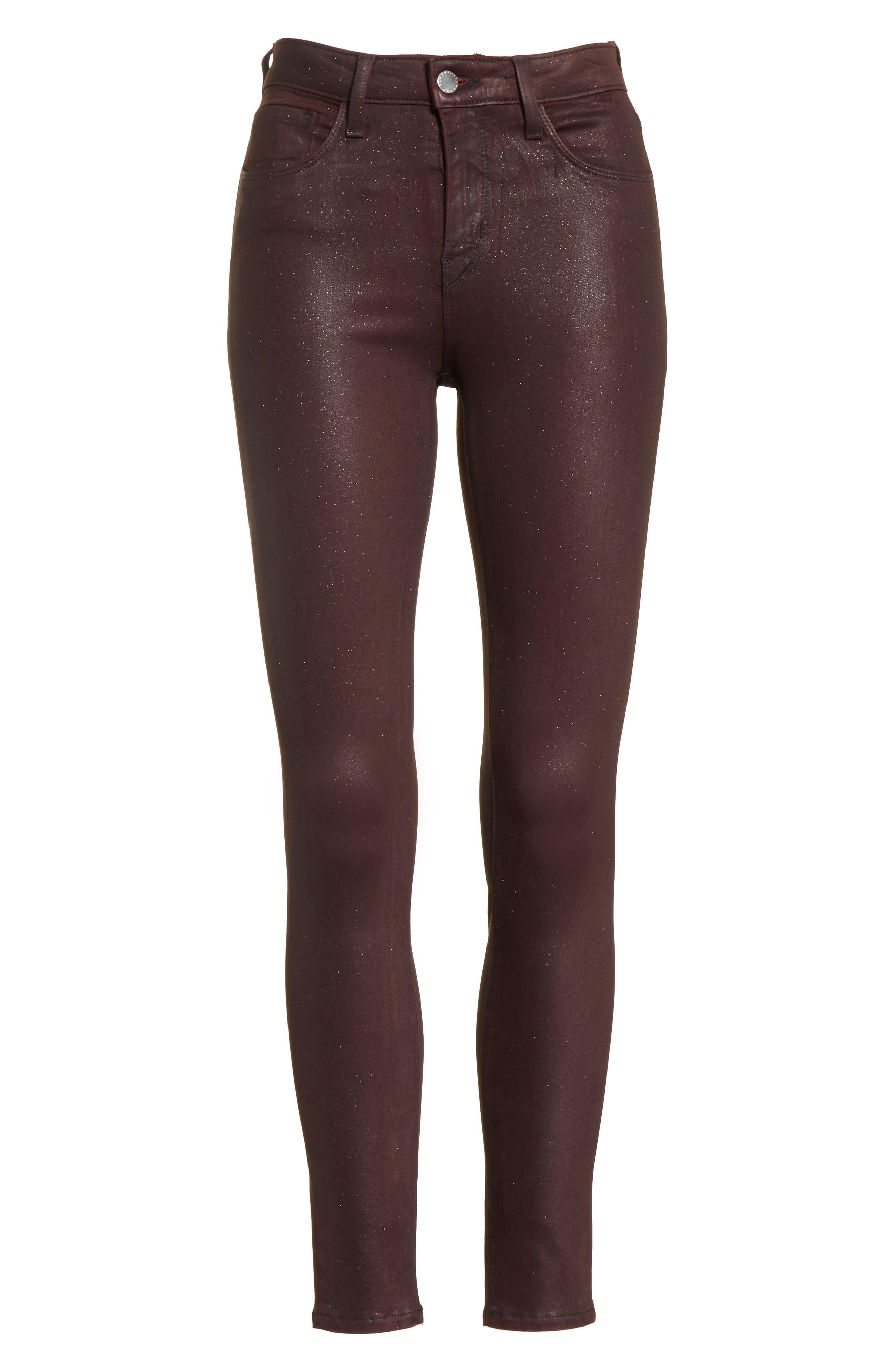 Margot High Waist Glitter Coated Jeans,                             Alternate thumbnail 6, color,                             Bordeaux Glitter Coated
