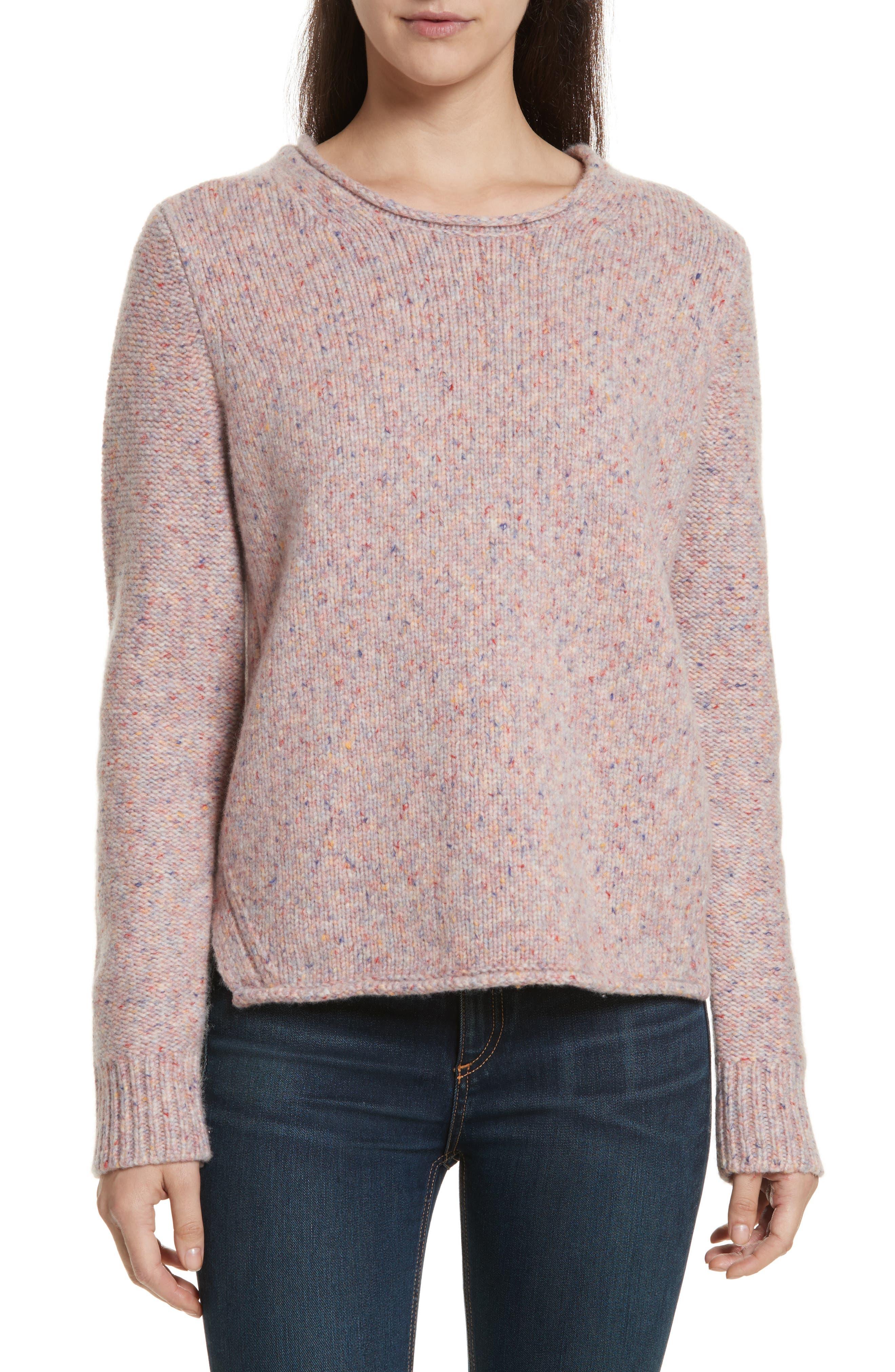 rag & bone Francie Suede Trim Wool Blend Sweater