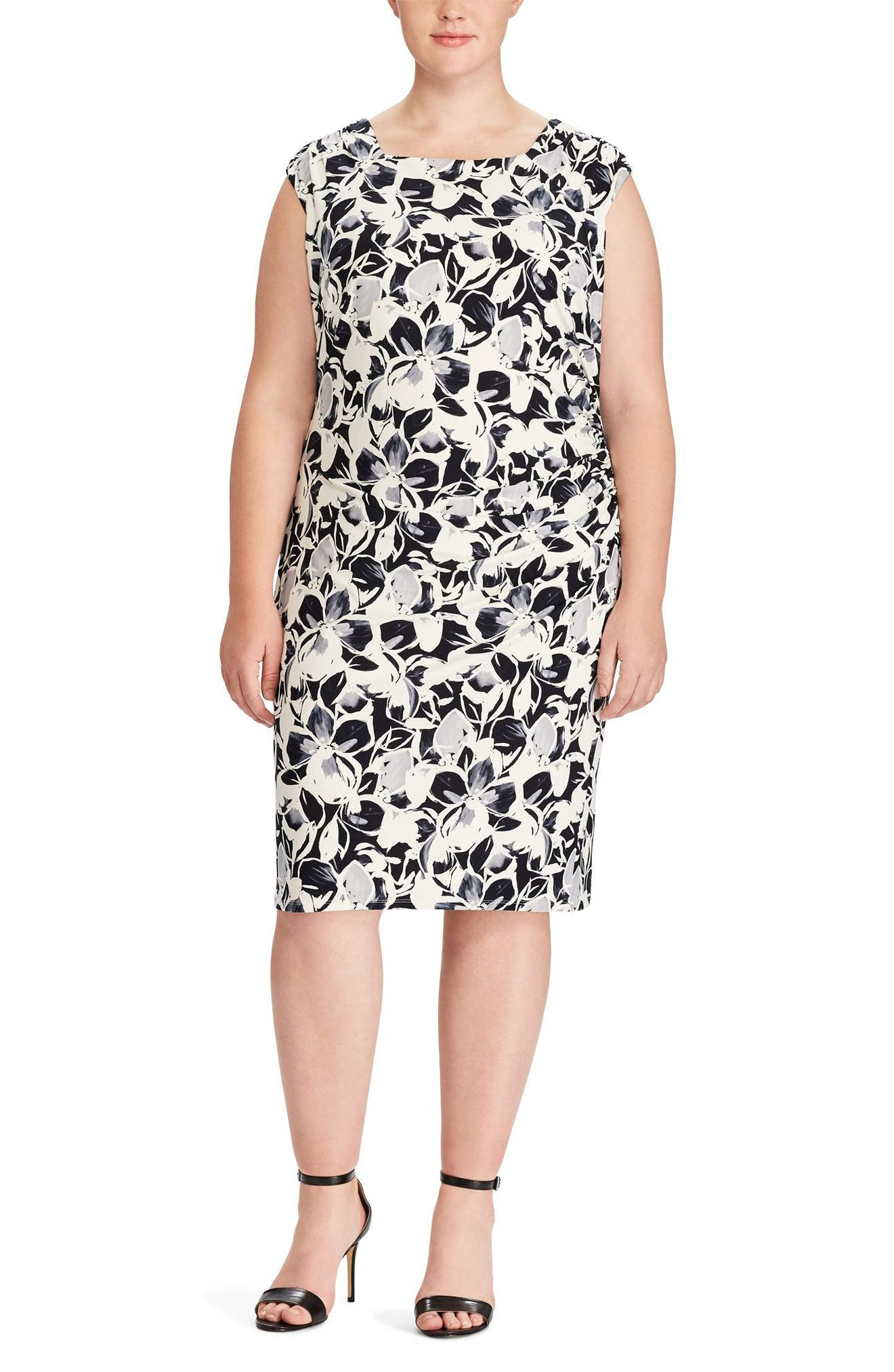 Floral Print Jersey Dress,                         Main,                         color, Lighthouse Navy/ Grey Multi