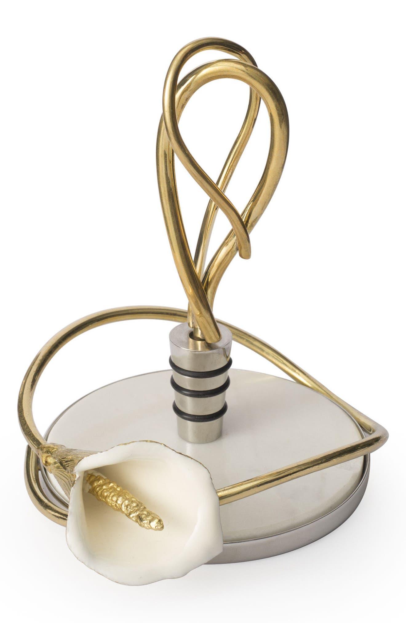 Calla Lily Wine Coaster & Stopper Set,                         Main,                         color, Calla Lilly