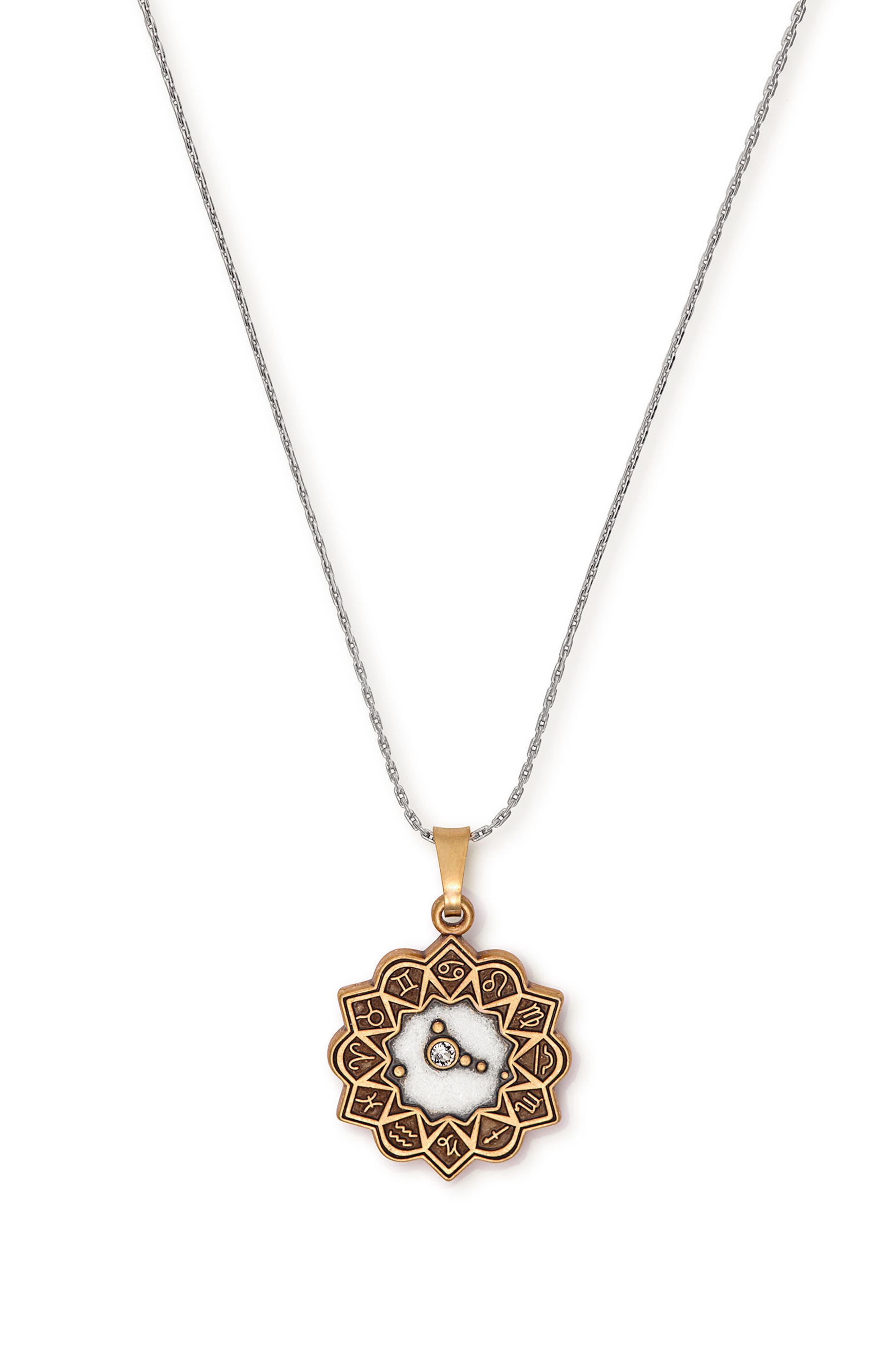 Aries Expandable Pendant Necklace,                             Main thumbnail 1, color,                             Cancer/ Two-Toned