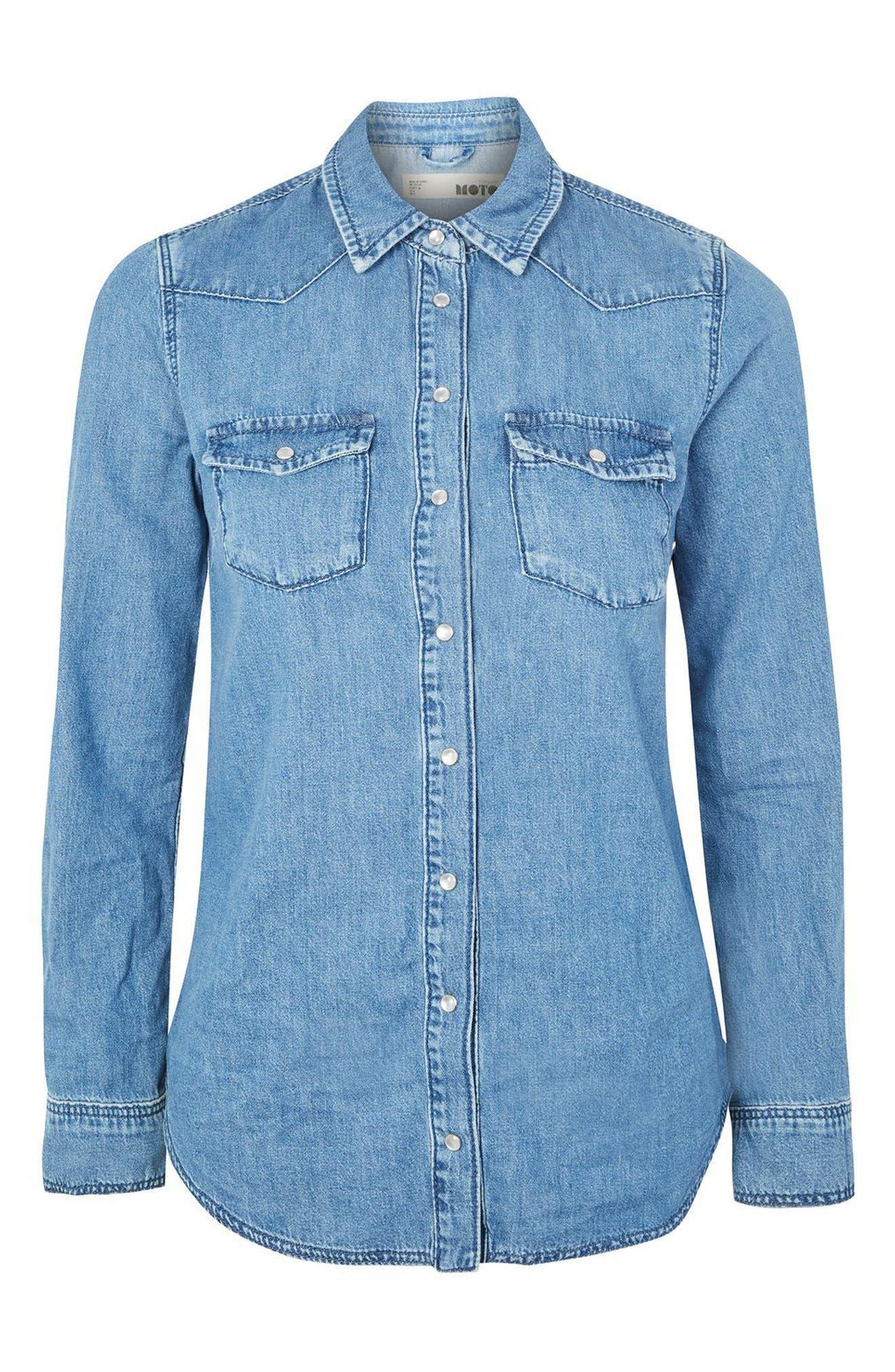 Alternate Image 4  - Topshop Western Denim Shirt (Petite)