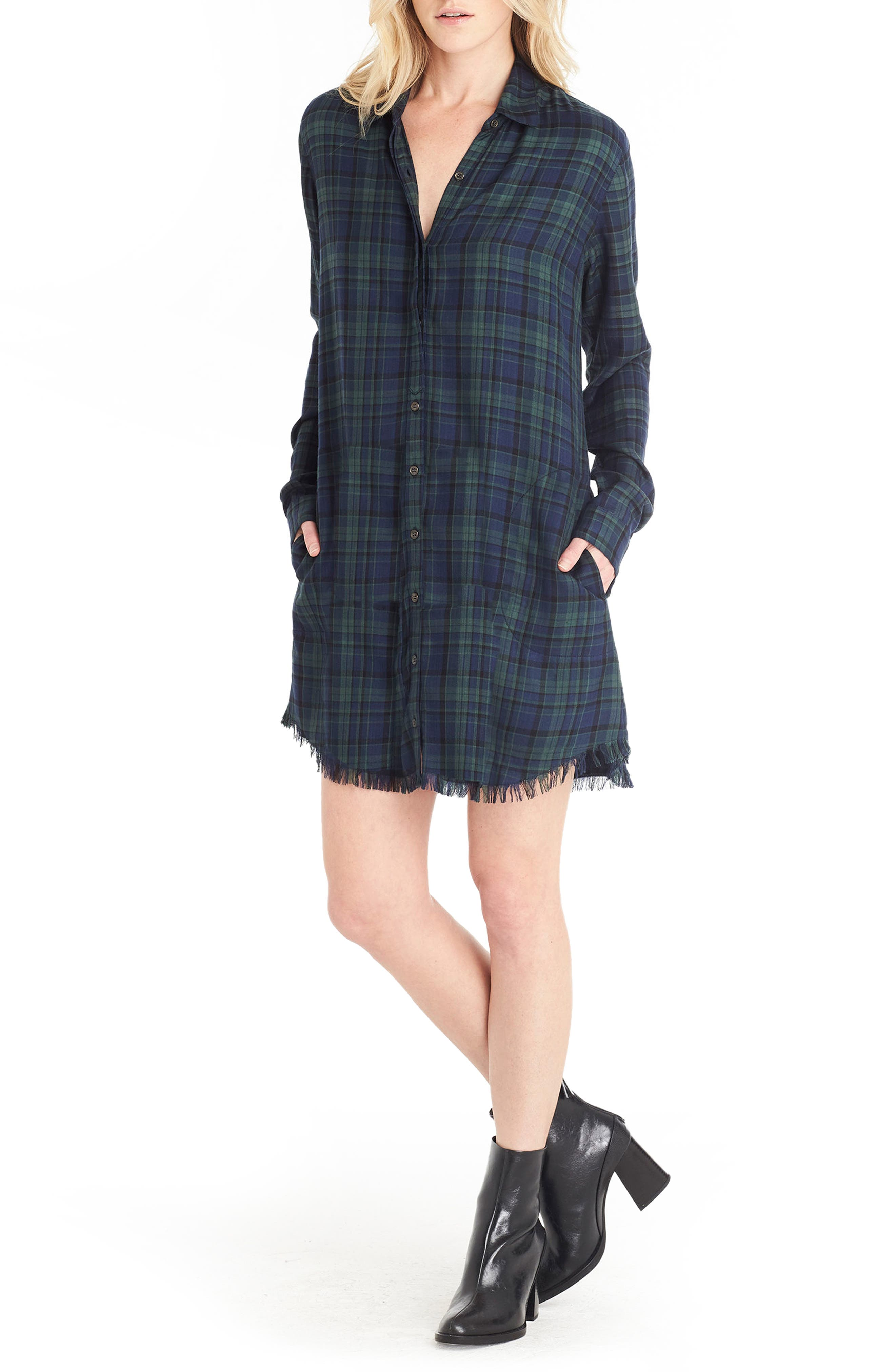 Plaid Shirtdress,                         Main,                         color, Nocturnal/ Forest