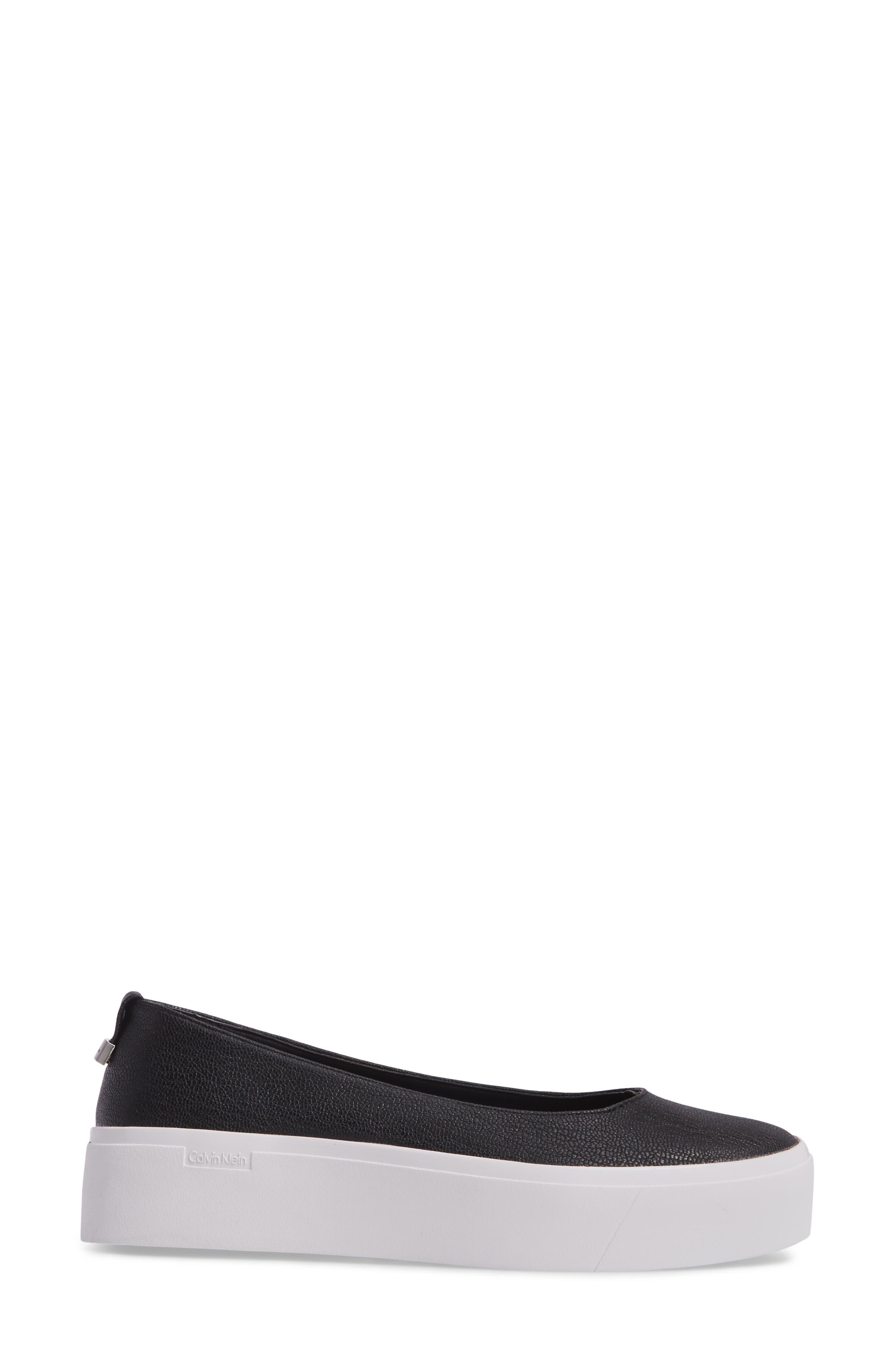 Janie Platform Flat,                             Alternate thumbnail 3, color,                             Black Pebble Leather