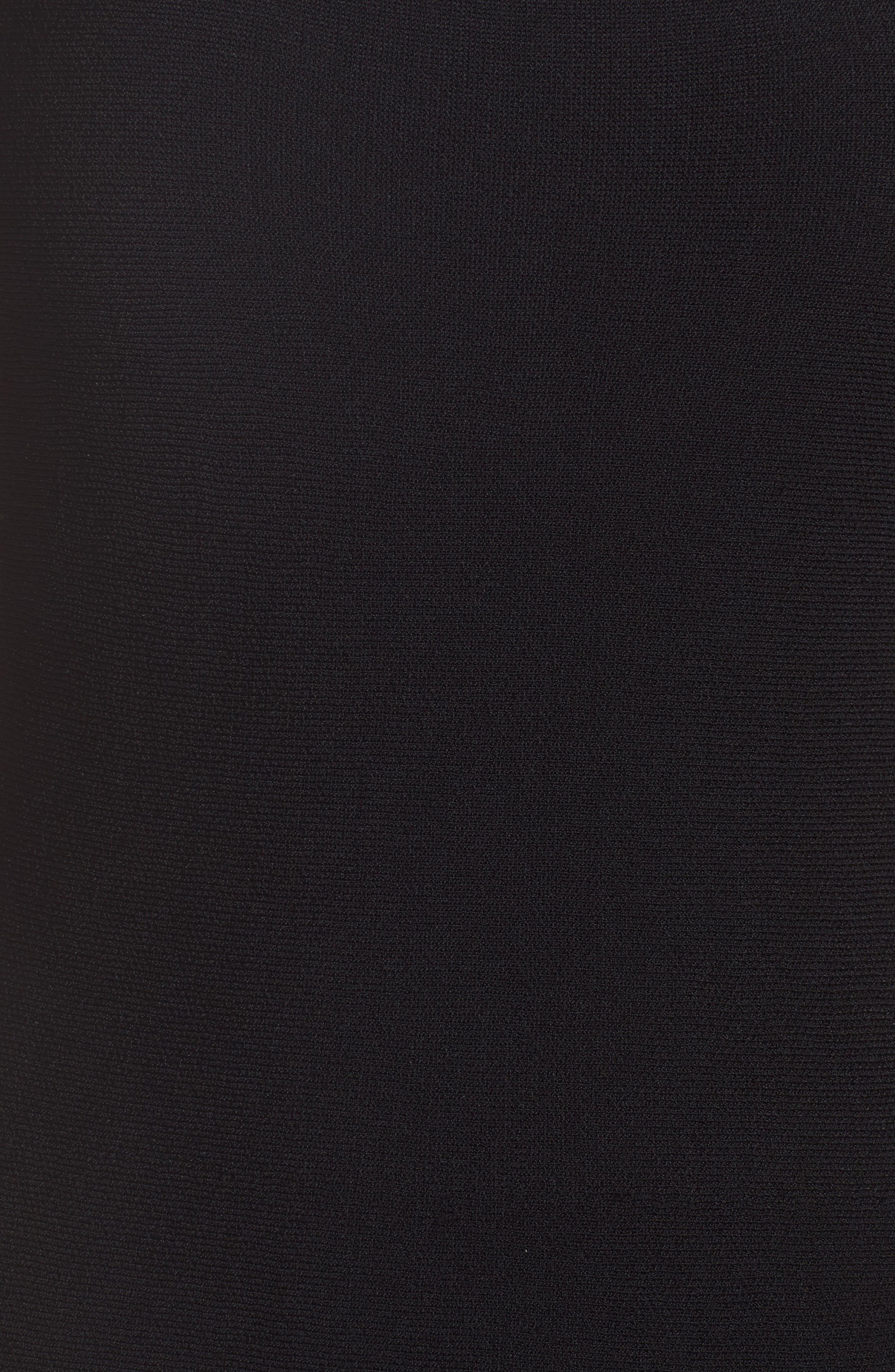 Colorblock Fit & Flare Sweater Dress,                             Alternate thumbnail 6, color,                             Black/ Ivory