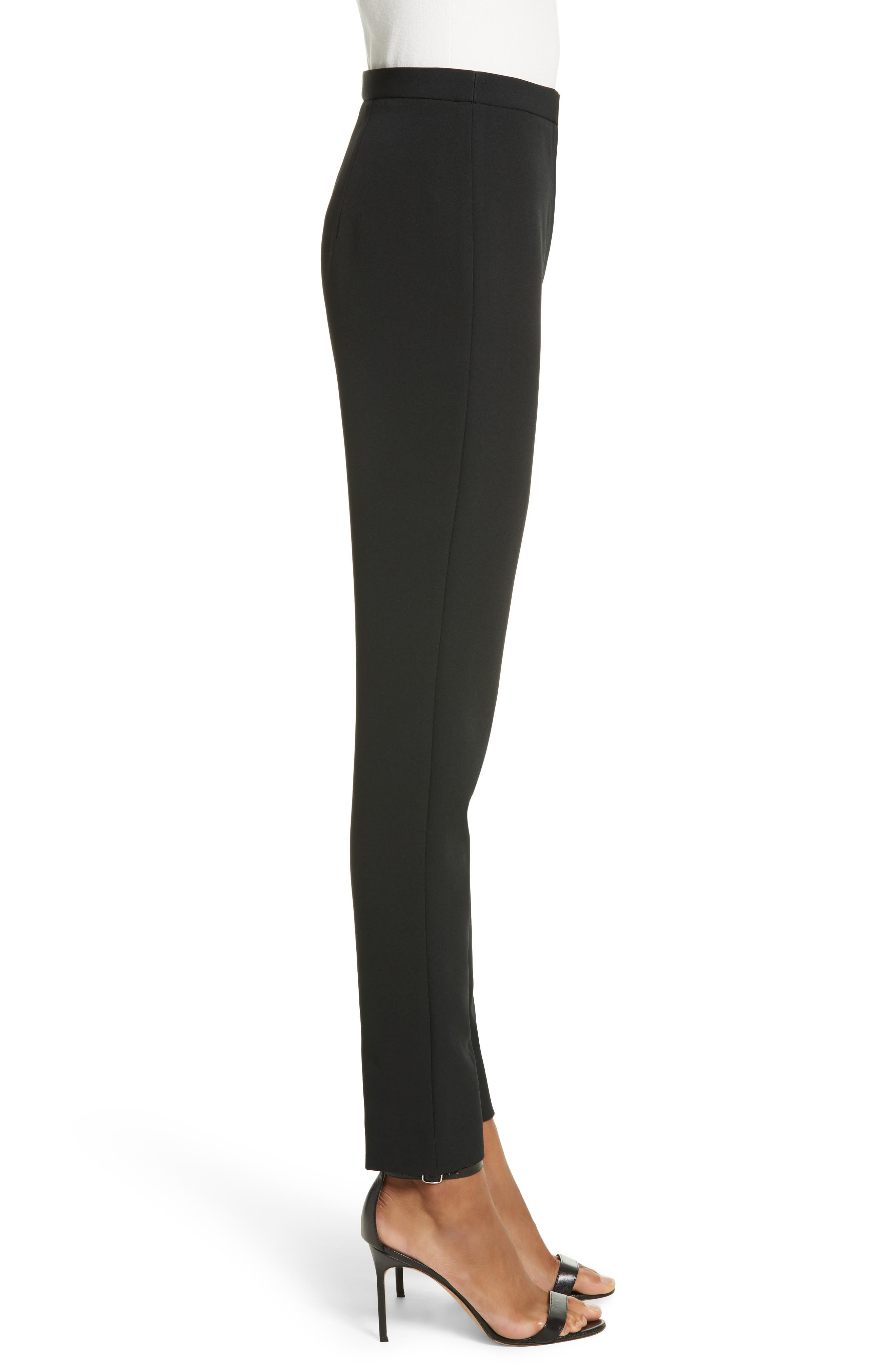 Stretch Crepe High Waist Skinny Pants,                             Alternate thumbnail 3, color,                             Black