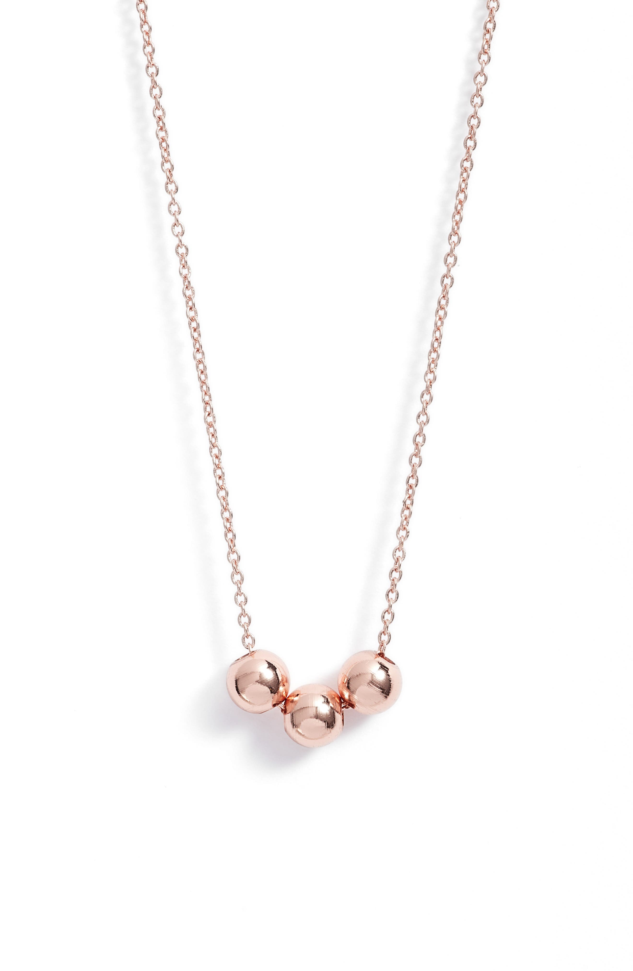 Newport Beaded Necklace,                             Main thumbnail 1, color,                             Rose Gold