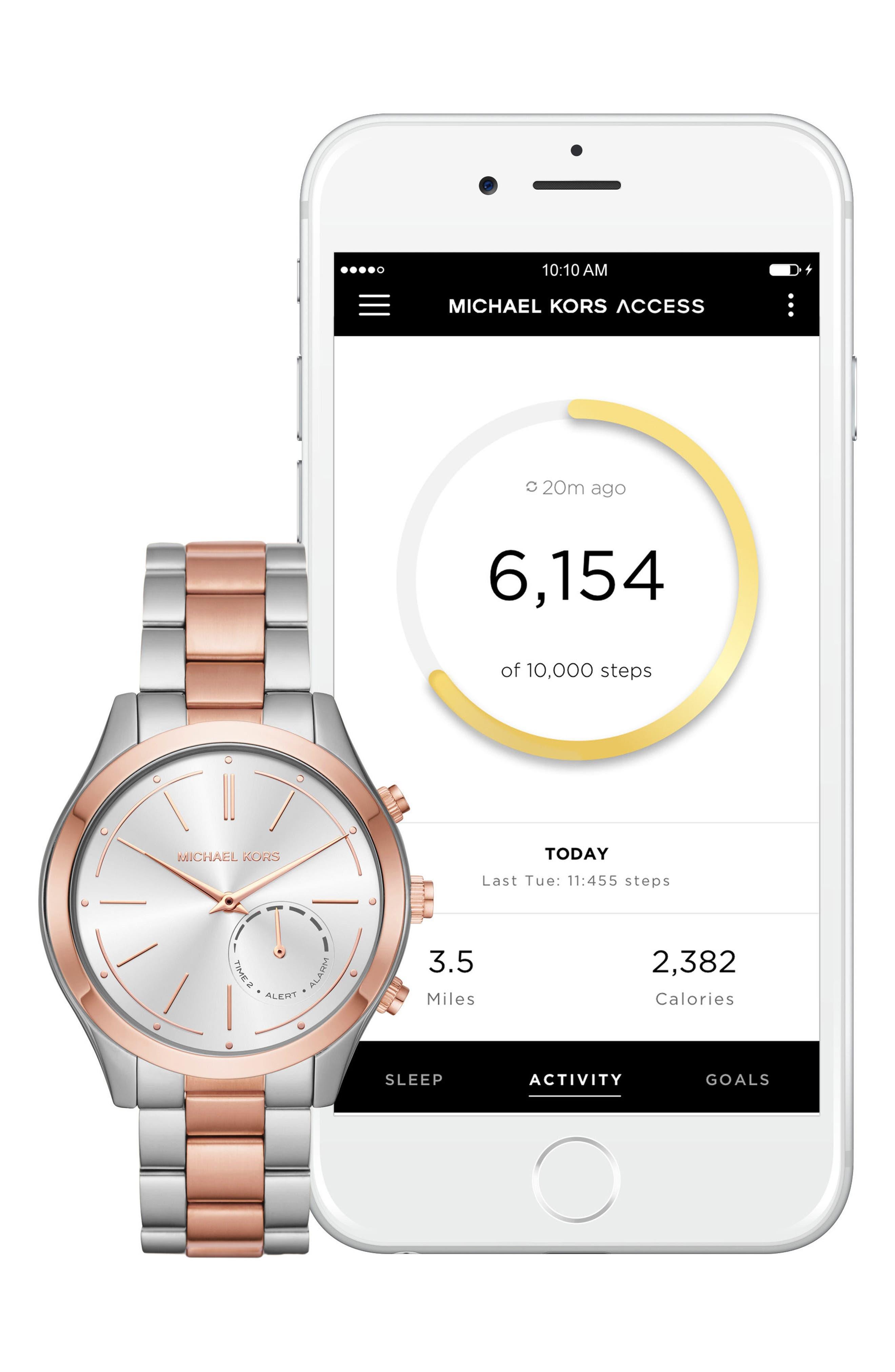 MICHAEL Michael Kors Slim Runway Smart Watch, 42mm,                             Alternate thumbnail 4, color,                             Silver/ Rose Gold