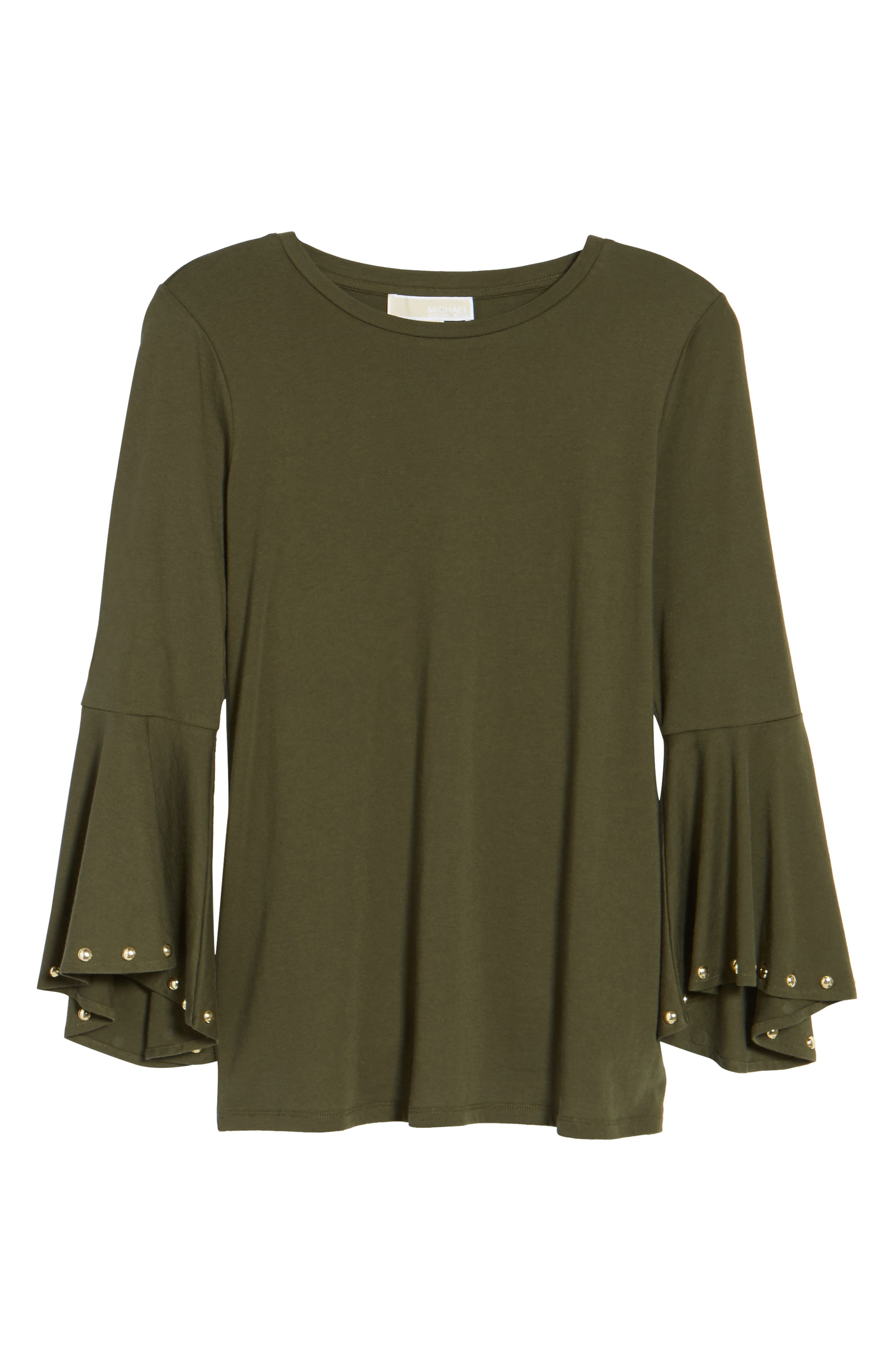 High/Low Bell Sleeve Top,                             Alternate thumbnail 6, color,                             Ivy