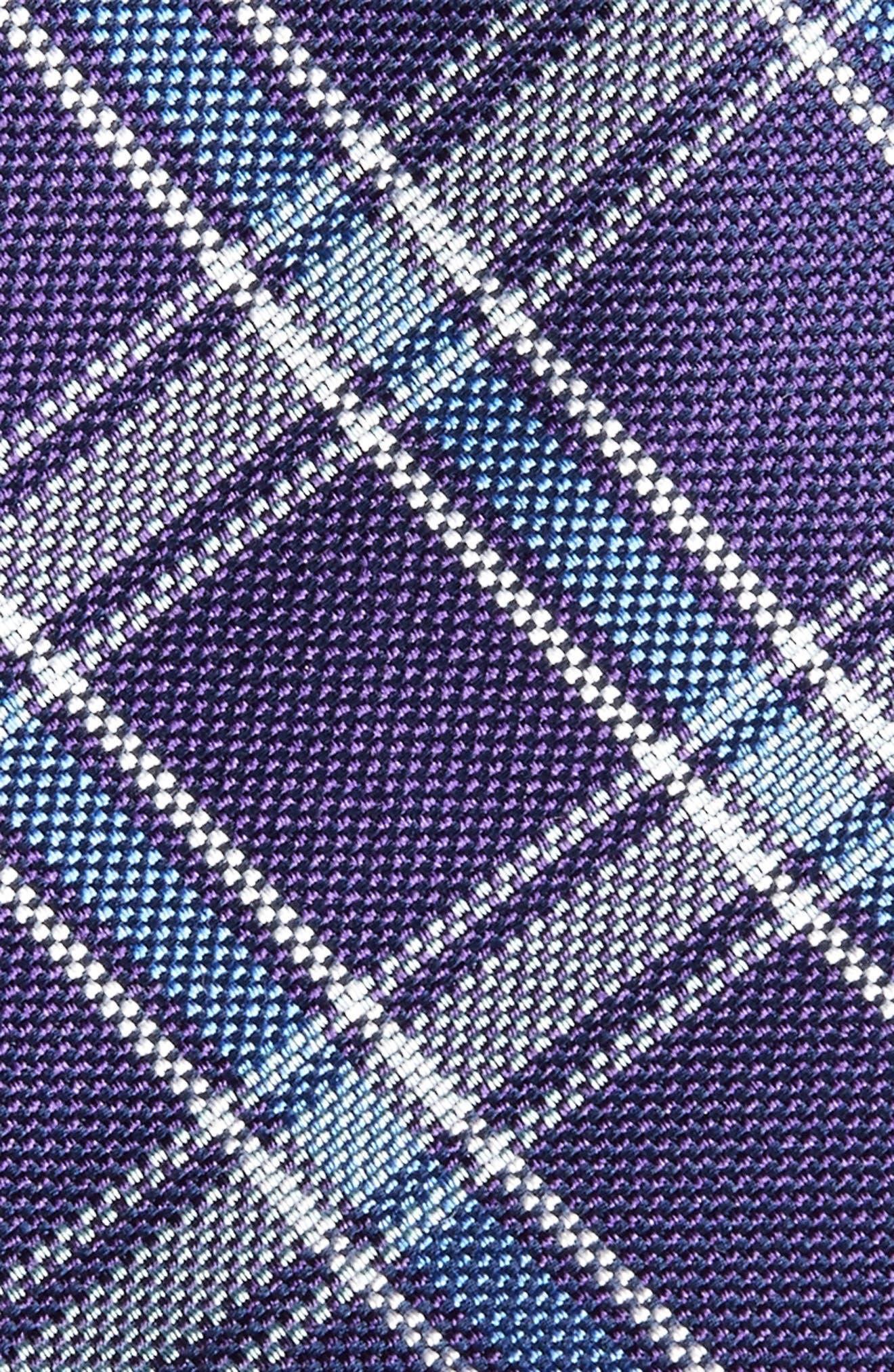 Oxford Plaid Silk Tie,                             Alternate thumbnail 2, color,                             Purple