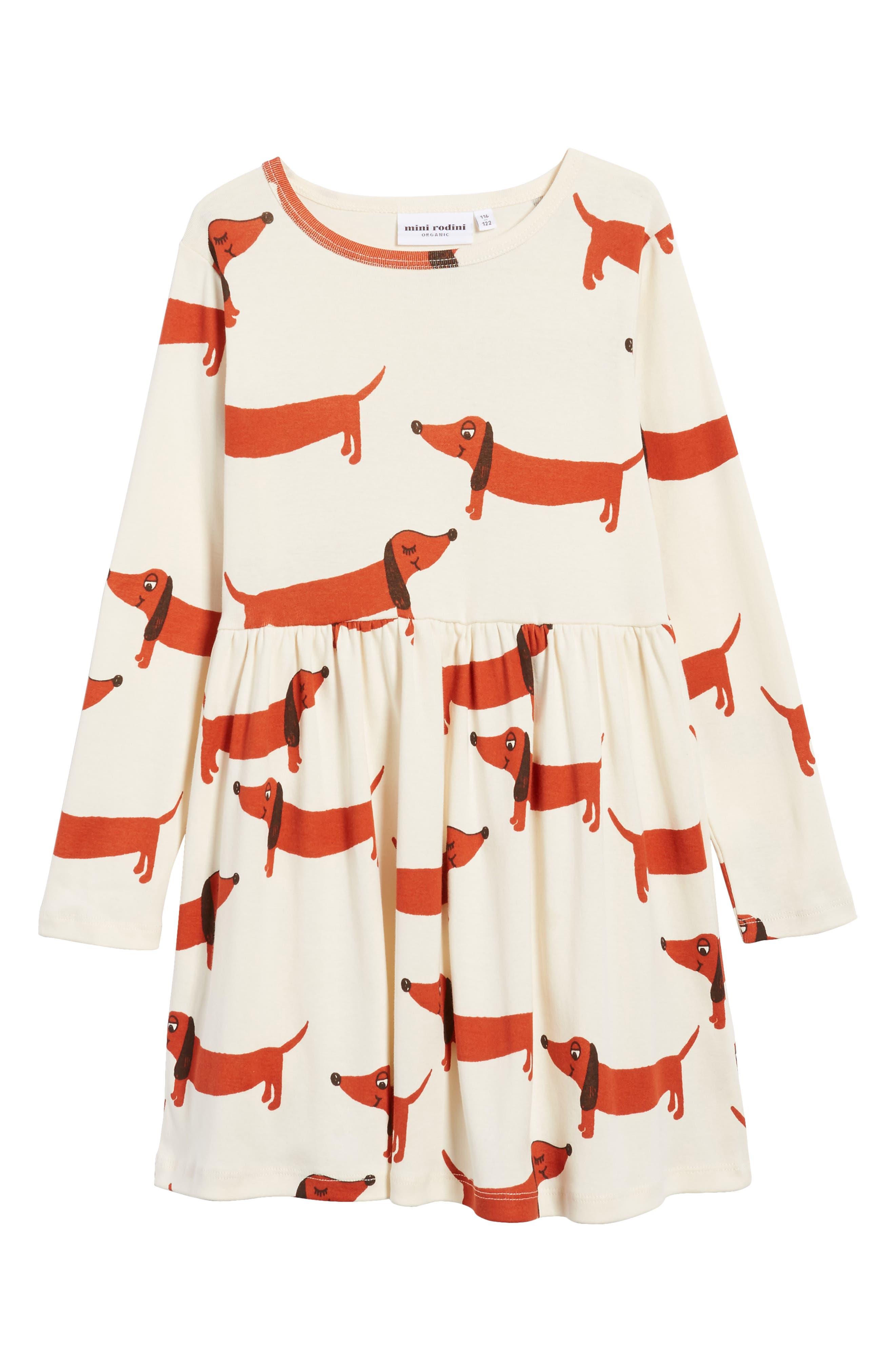Alternate Image 1 Selected - Mini Rodini Dogs Organic Cotton Dress (Toddler Girls & Little Girls)