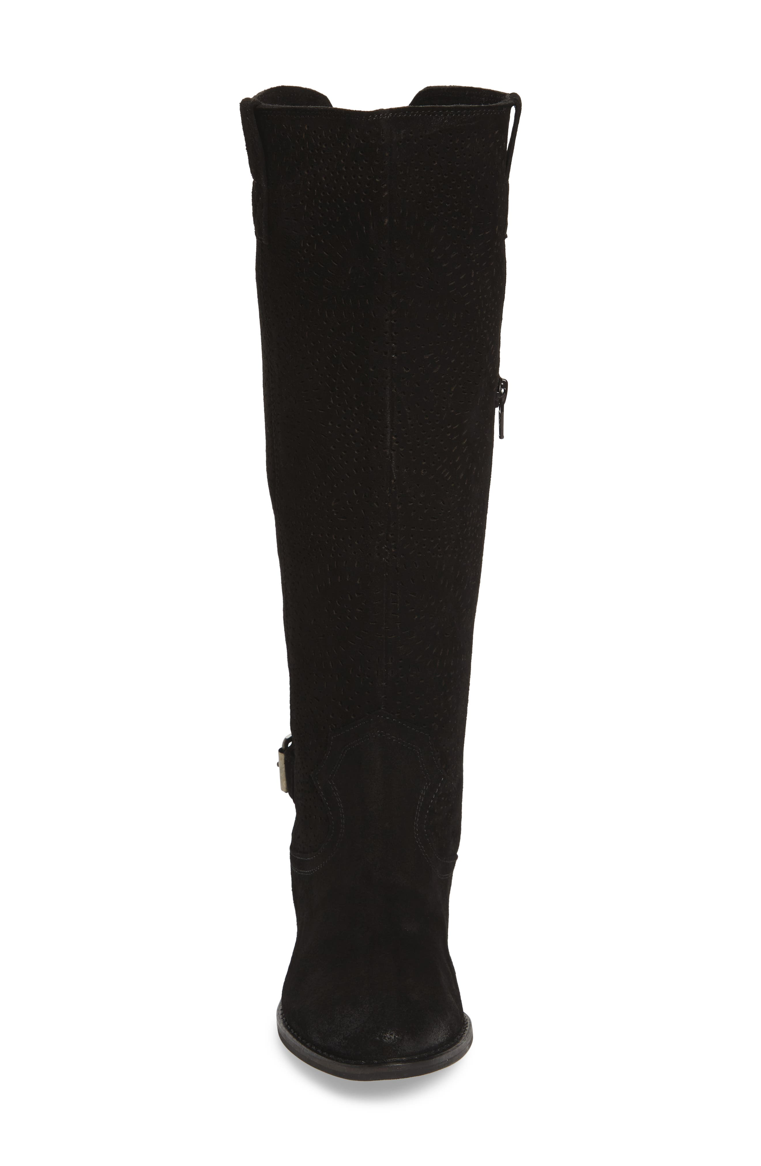 Ziba Tall Boot,                             Alternate thumbnail 4, color,                             Black Suede