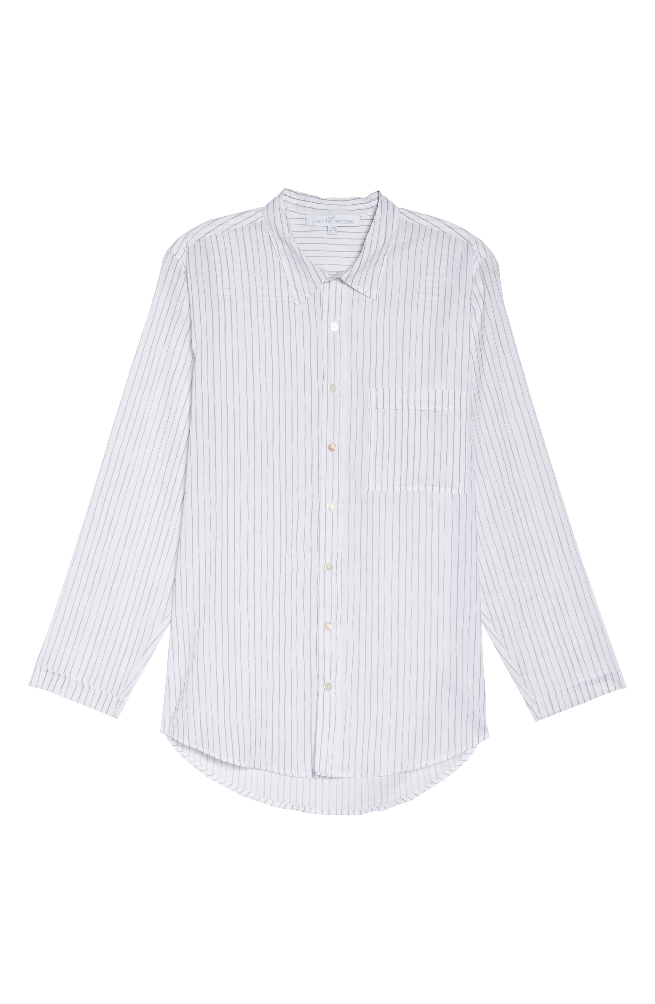 Alternate Image 6  - Pour Les Femmes Pinstripe Boyfriend Sleep Shirt