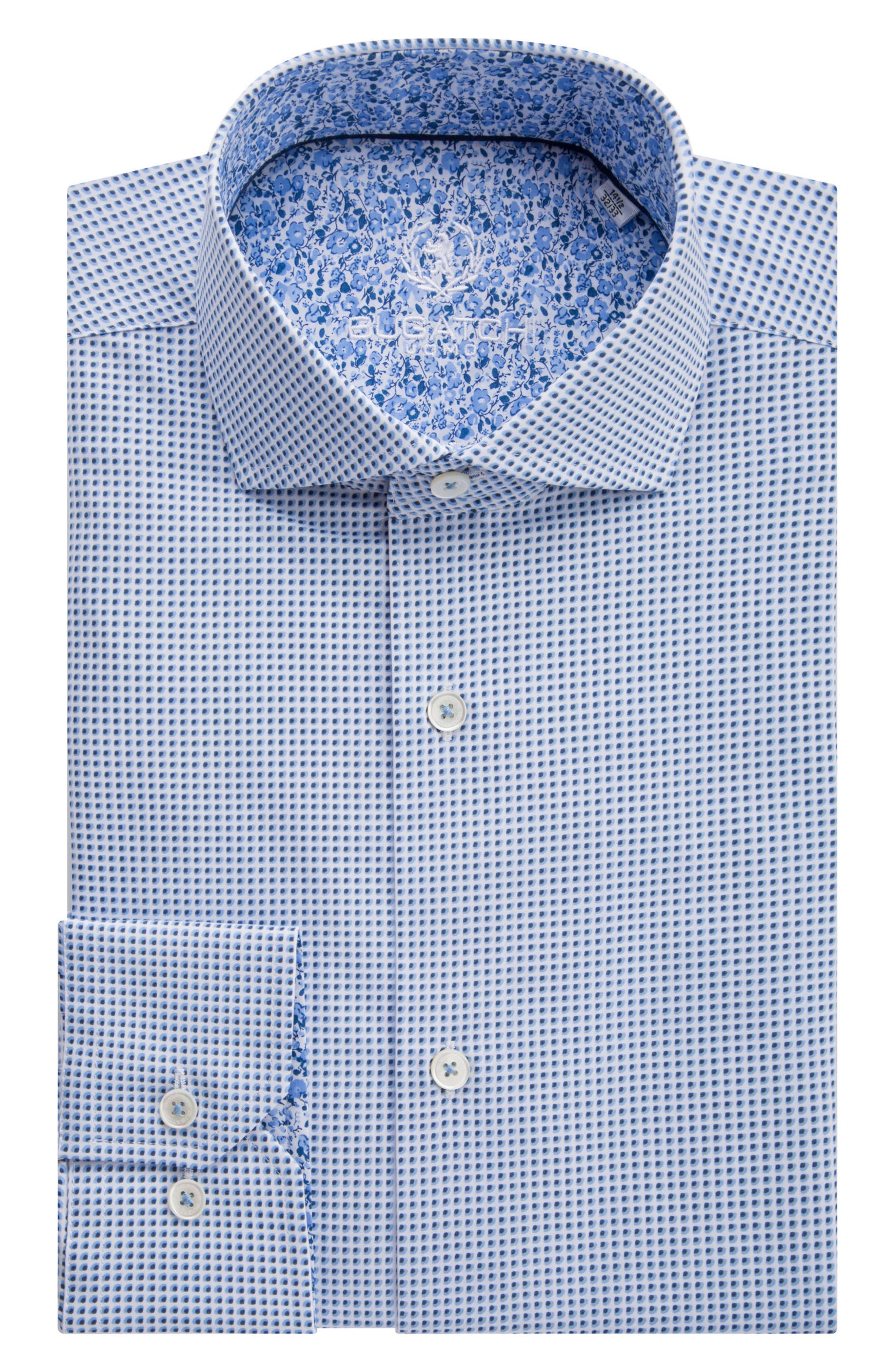 Trim Fit Geometric Dress Shirt,                         Main,                         color, Classic Blue