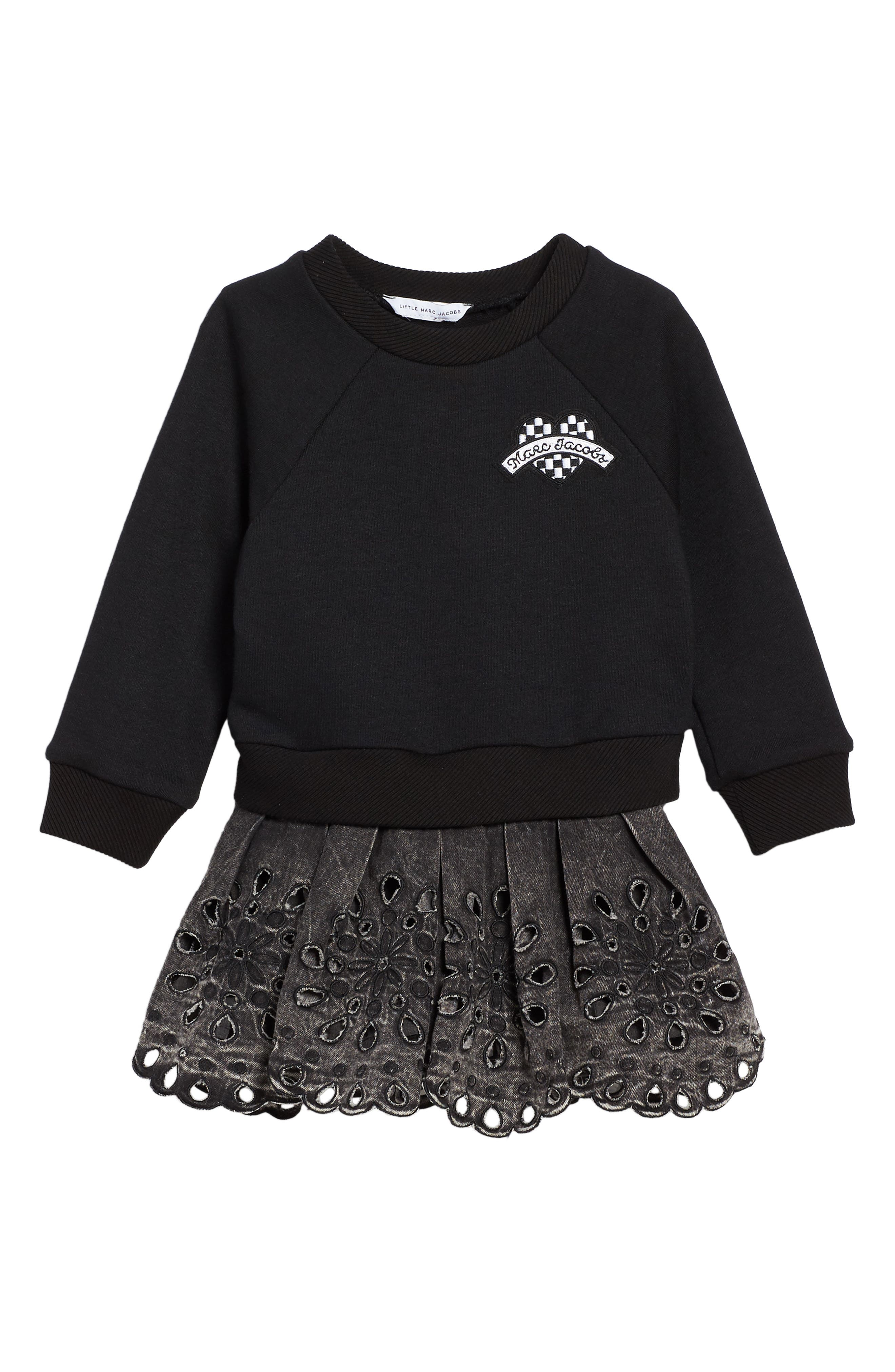 Sweatshirt & Skirt Set,                             Alternate thumbnail 2, color,                             Black