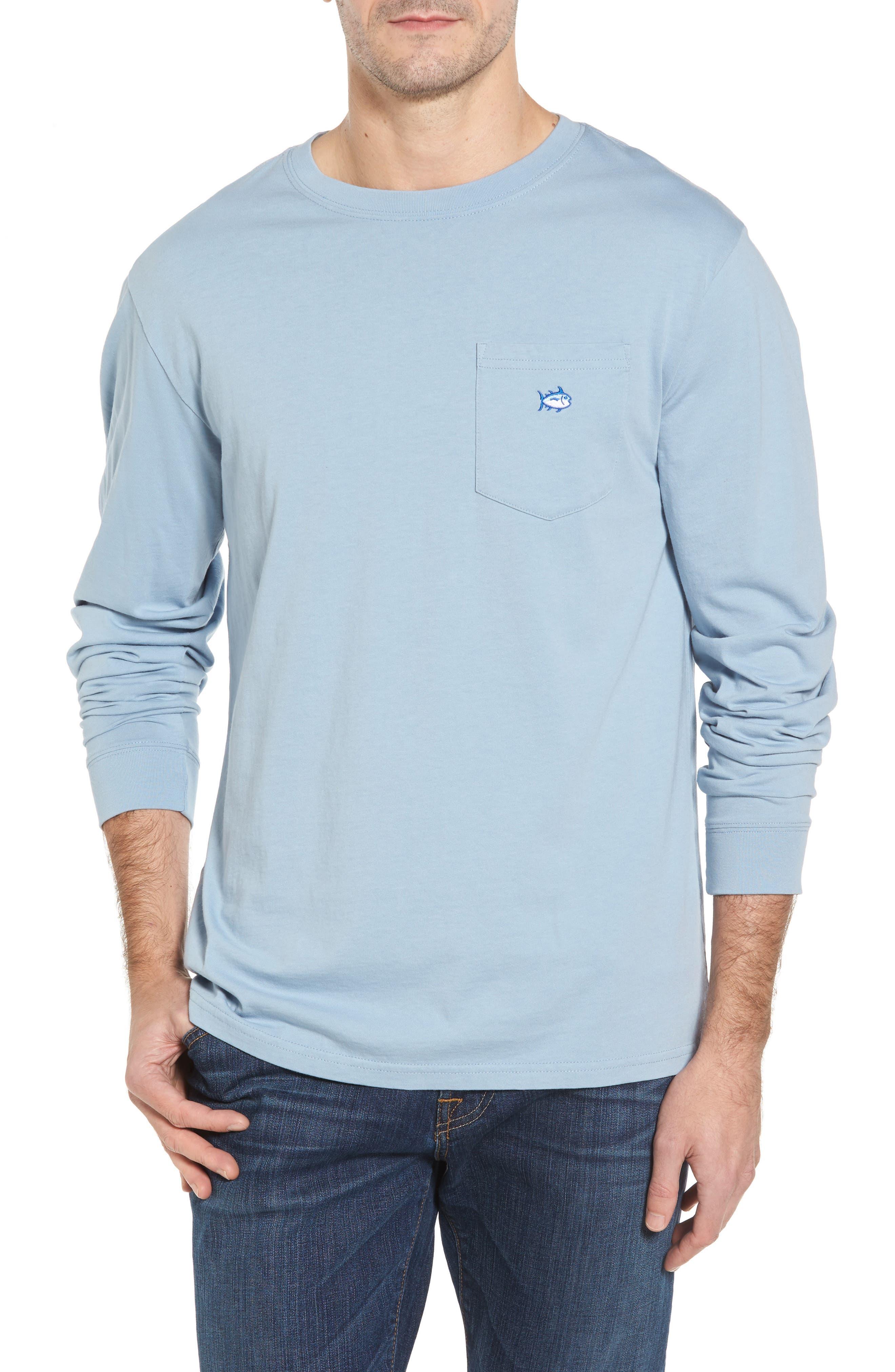 Embroidered Long Sleeve T-Shirt,                         Main,                         color, Tsunami Grey