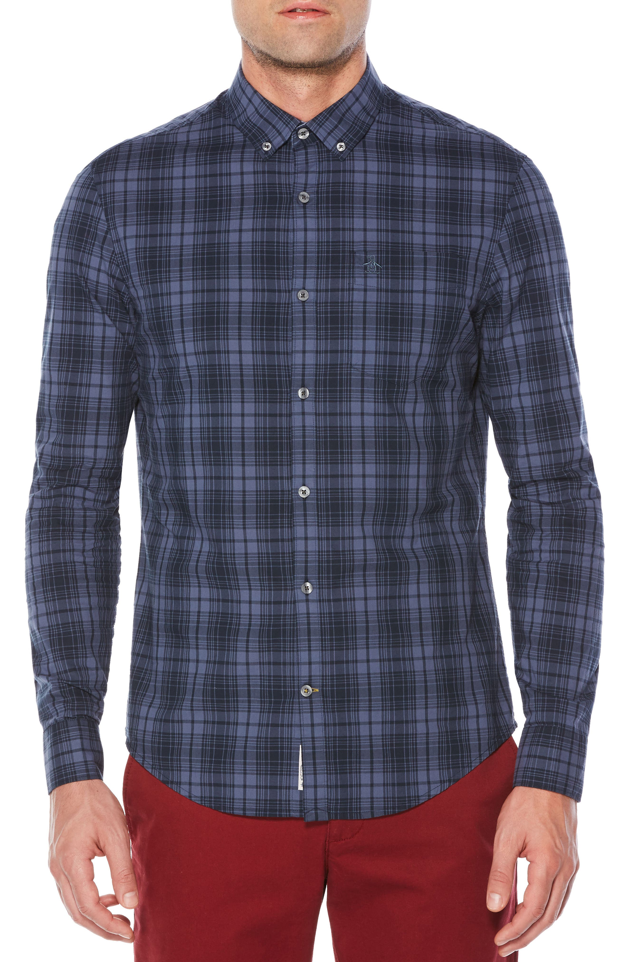 Heritage Slim Fit Plaid Shirt,                         Main,                         color, Vintage Indigo