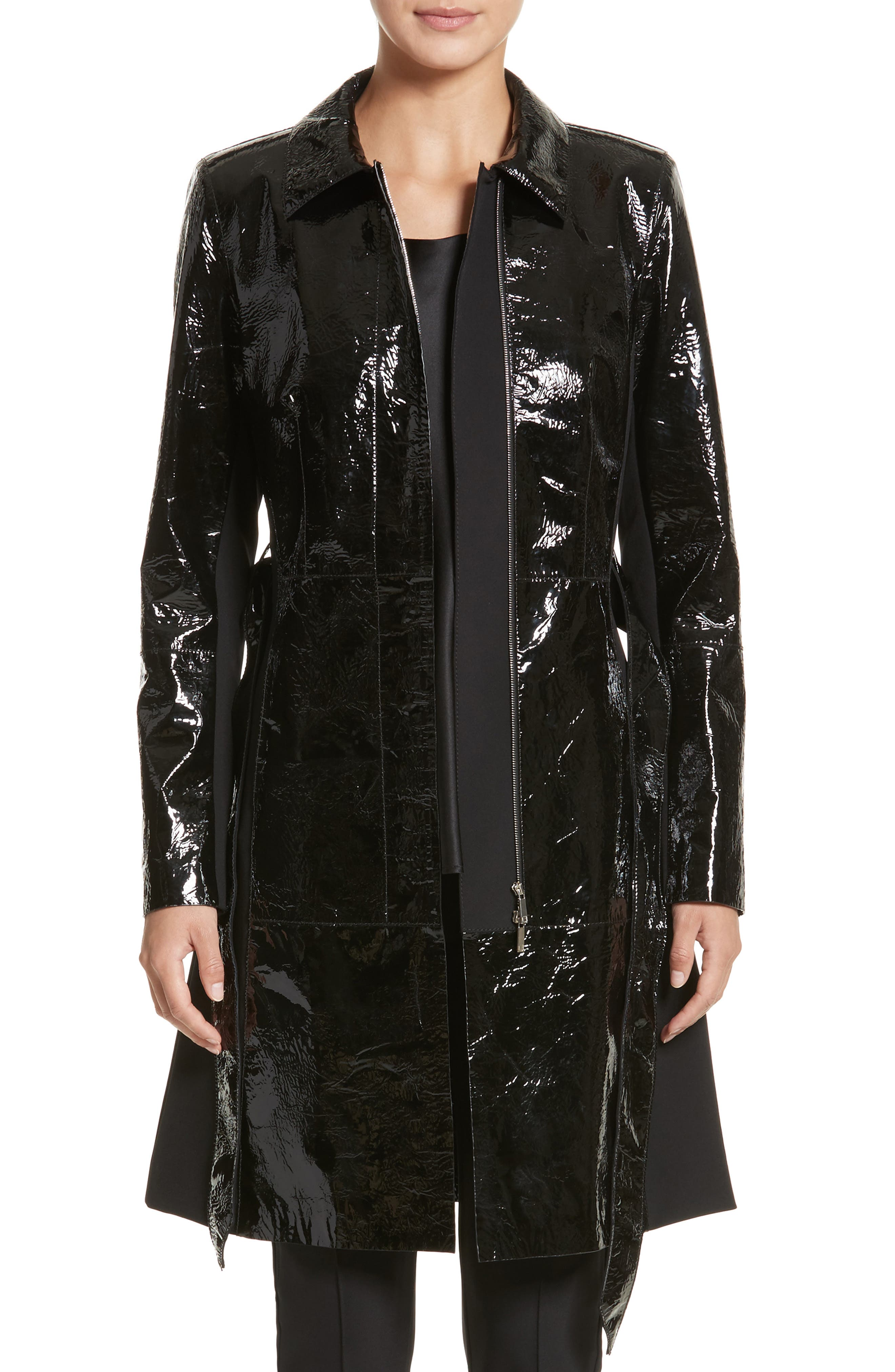Paola Tech Combo Patent Leather Trench Coat,                         Main,                         color, Black