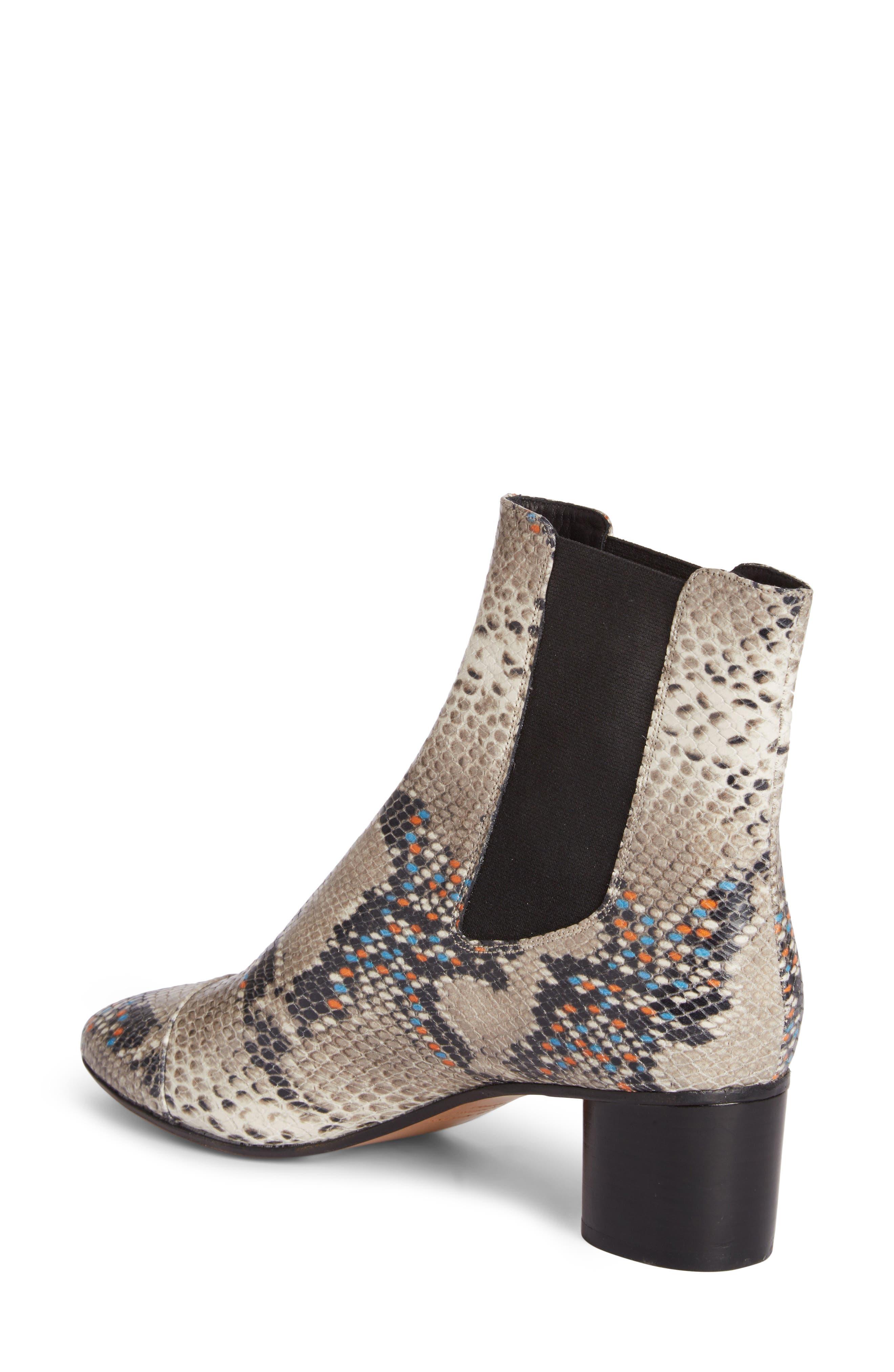 Danelya Snakeskin Embossed Chelsea Boot,                             Alternate thumbnail 2, color,                             Grey