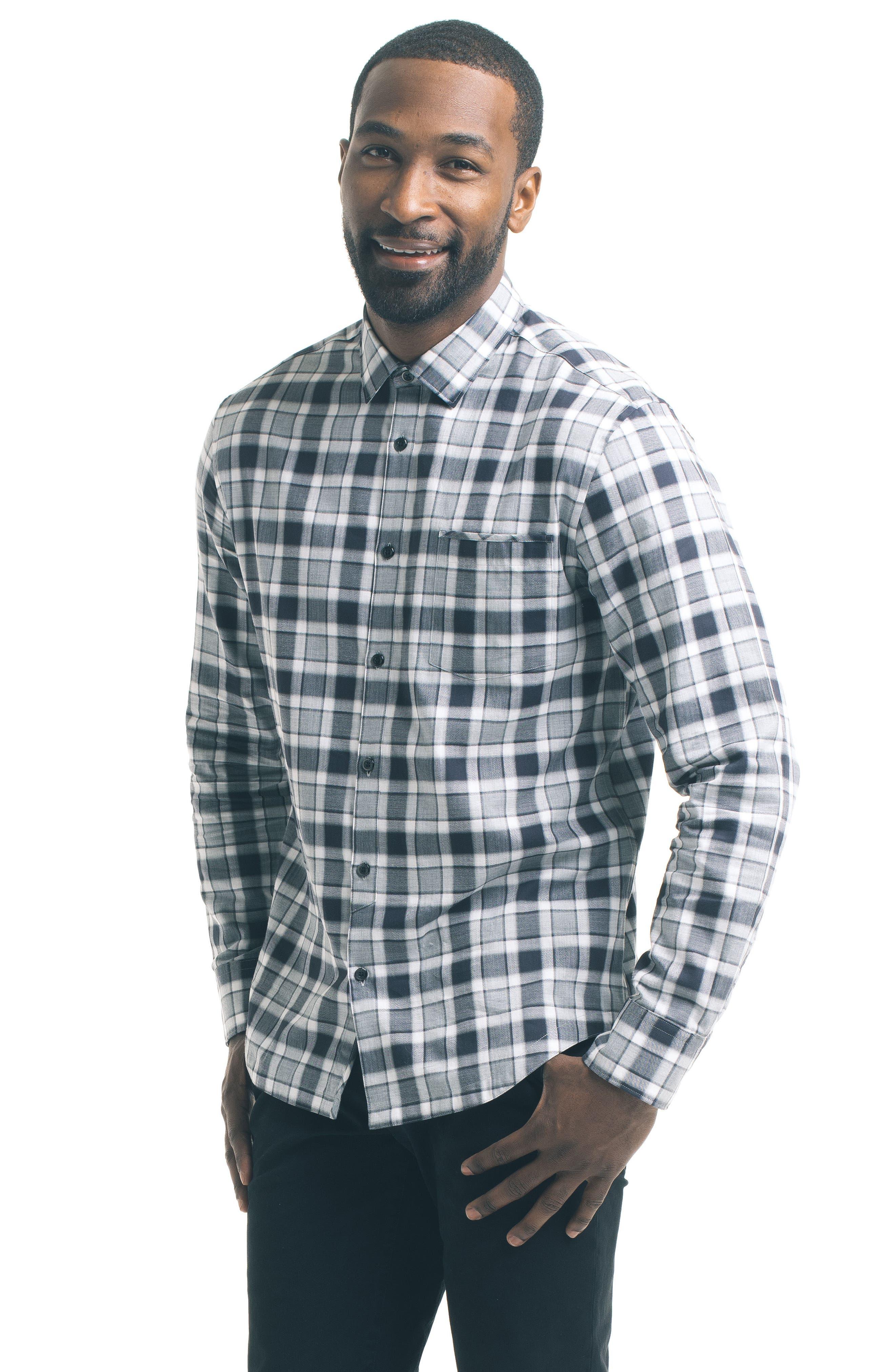 Herringbone Check Sport Shirt,                             Alternate thumbnail 5, color,                             Grey
