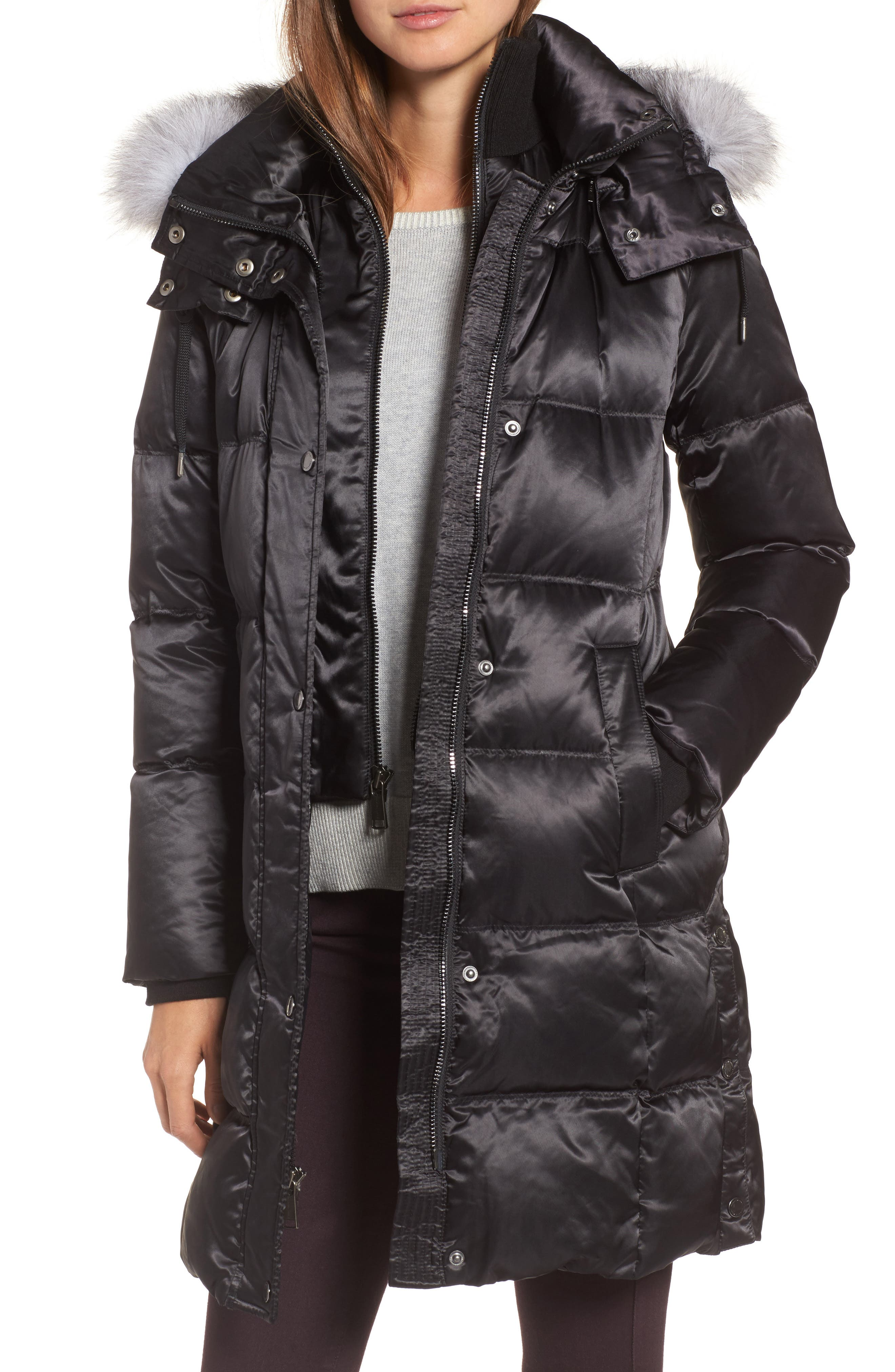 Hooded Down Jacket with Genuine Fox Fur Trim,                         Main,                         color, Black