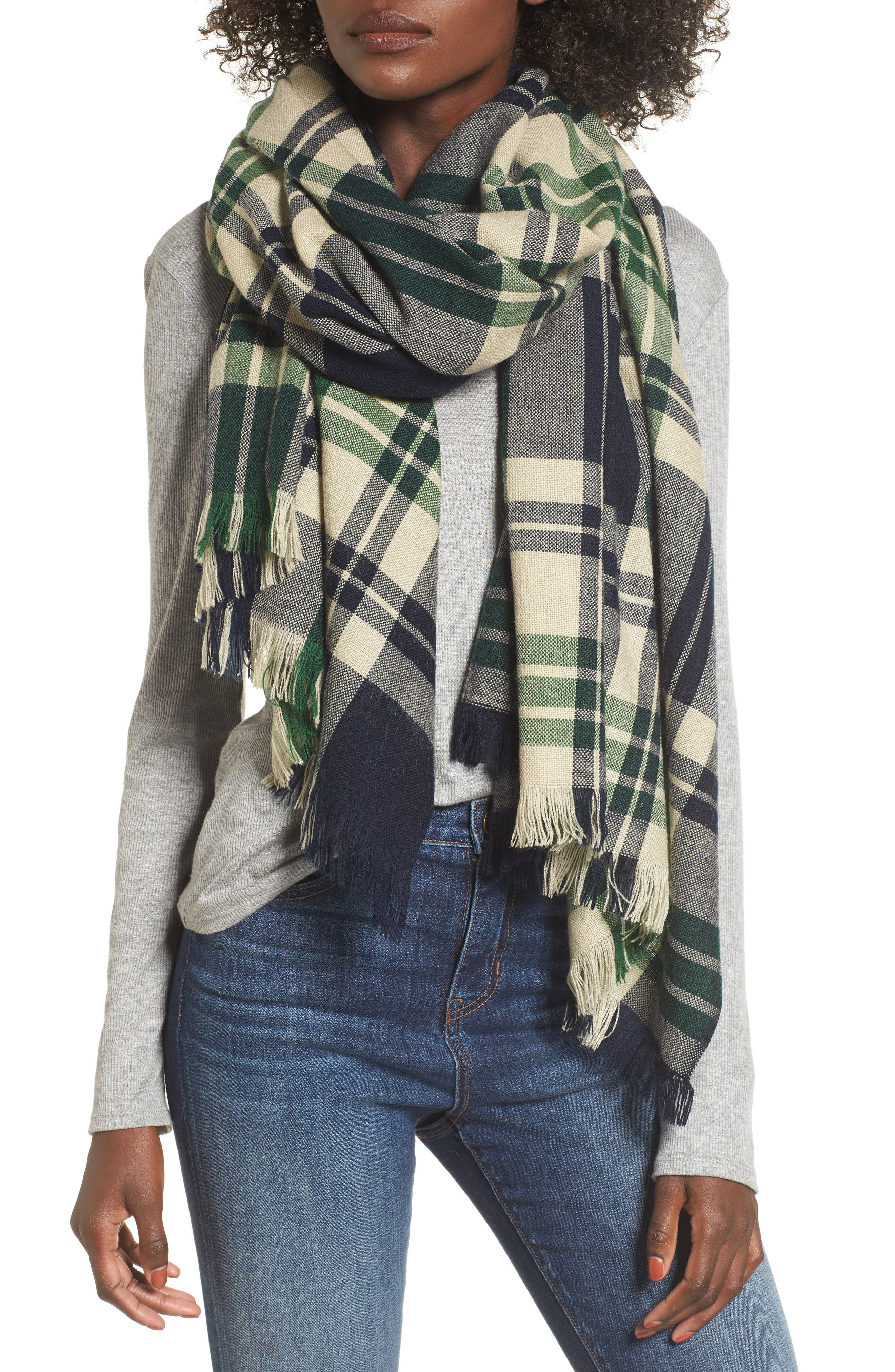 Sole Society Oversize Plaid Scarf