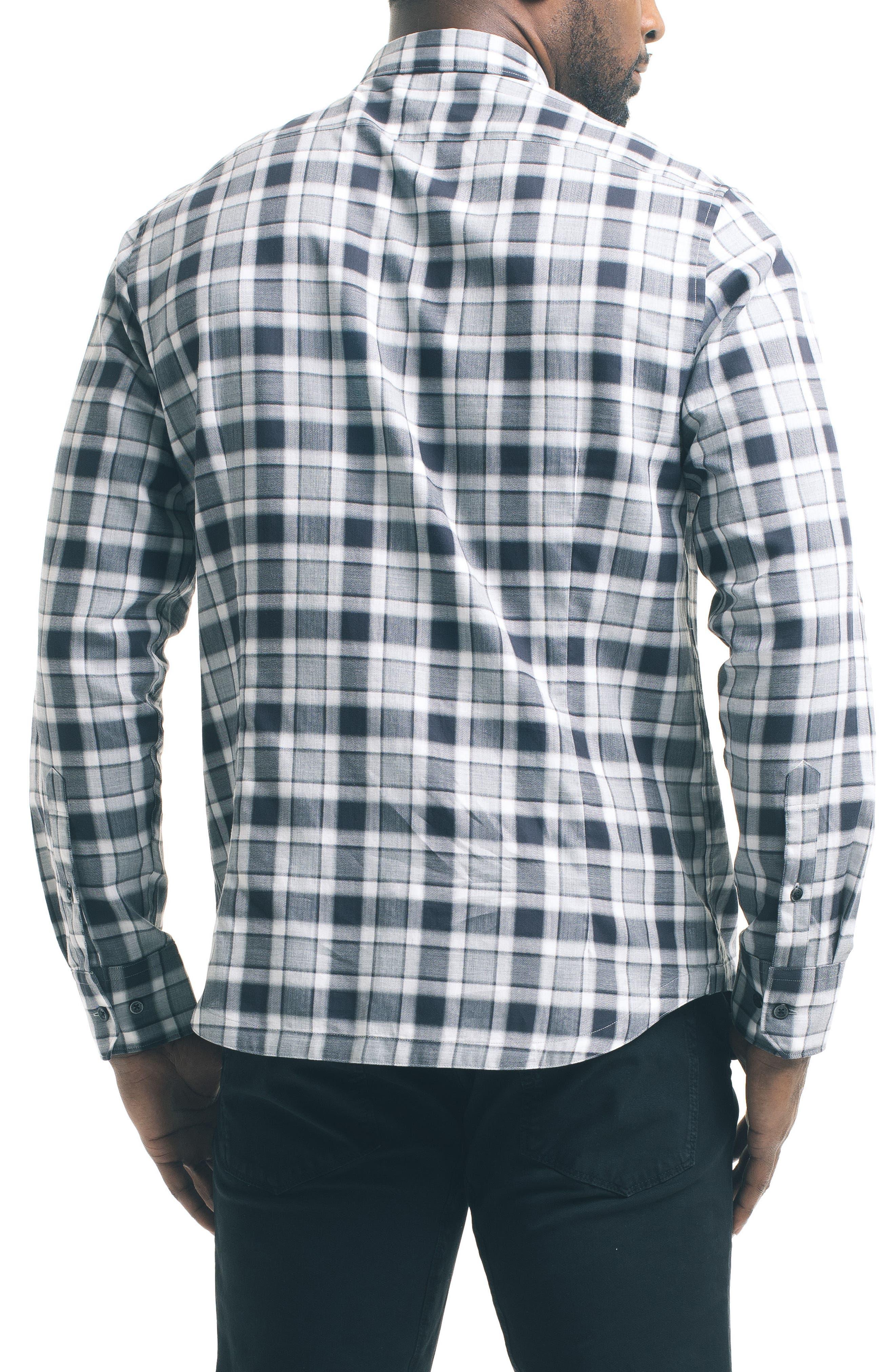 Herringbone Check Sport Shirt,                             Alternate thumbnail 2, color,                             Grey