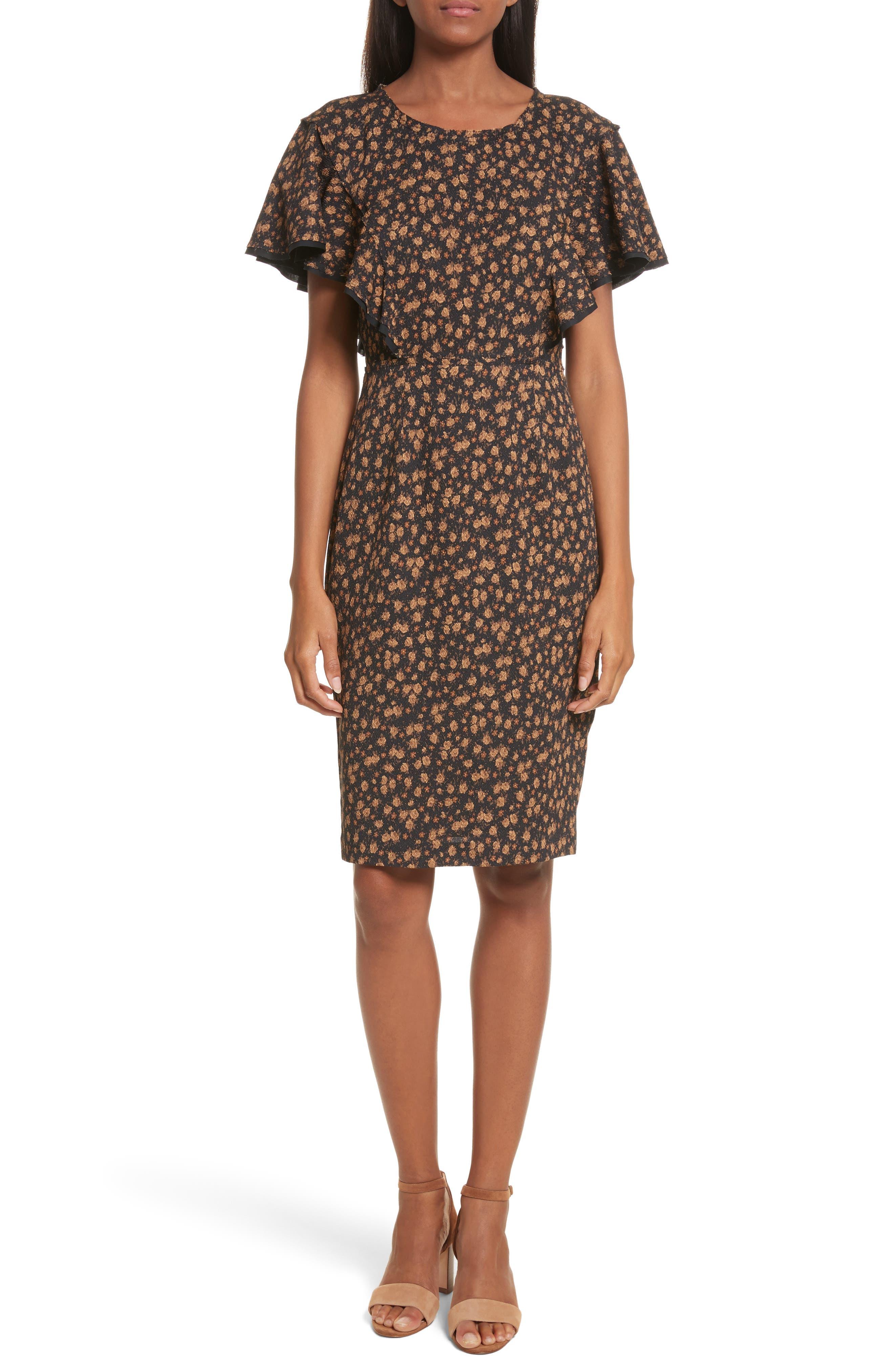Tracy Reese Flounce Sleeve Sheath Dress