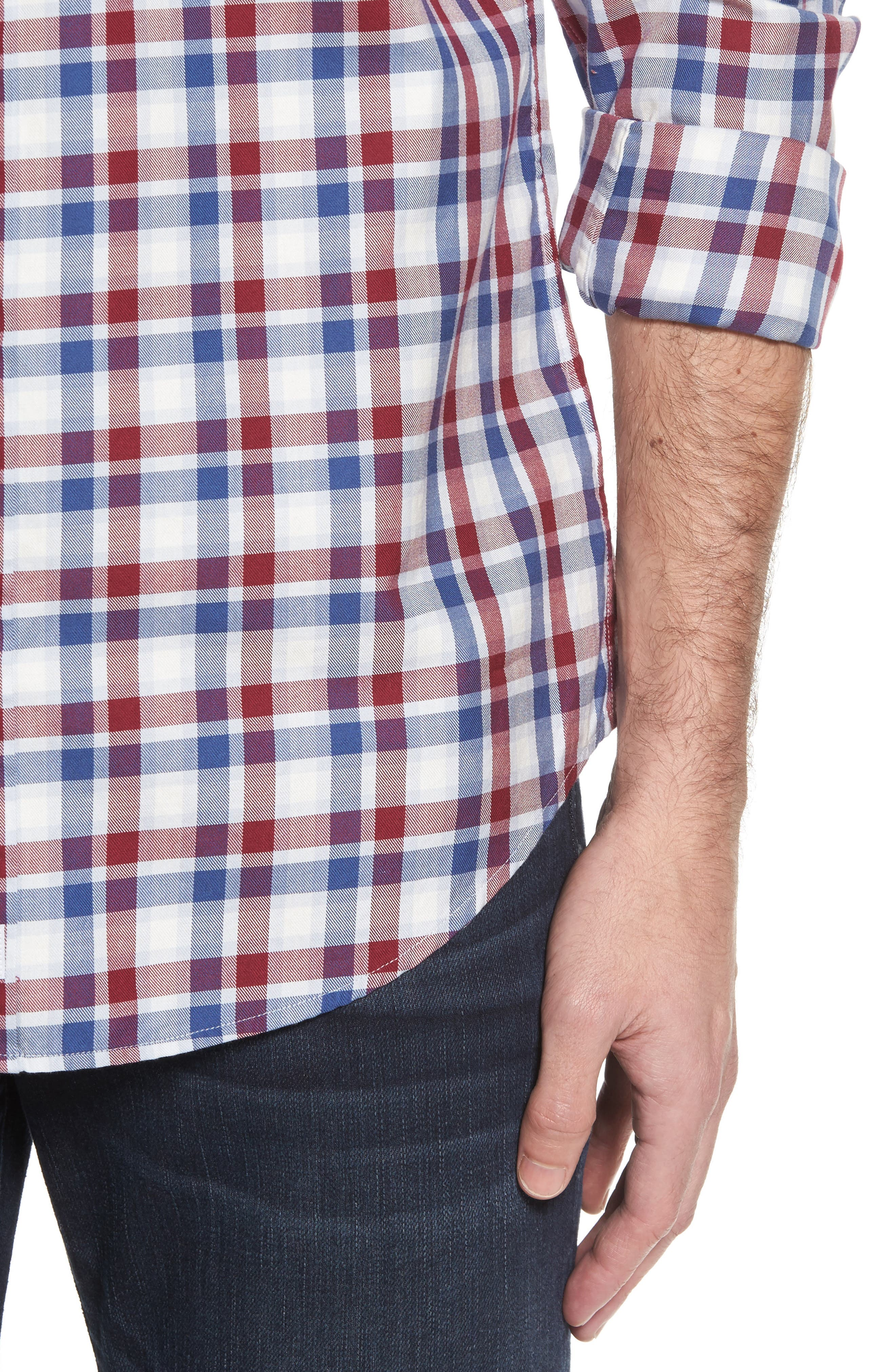 Classic Fit French Quarter Plaid Sport Shirt,                             Alternate thumbnail 4, color,                             Red Wine