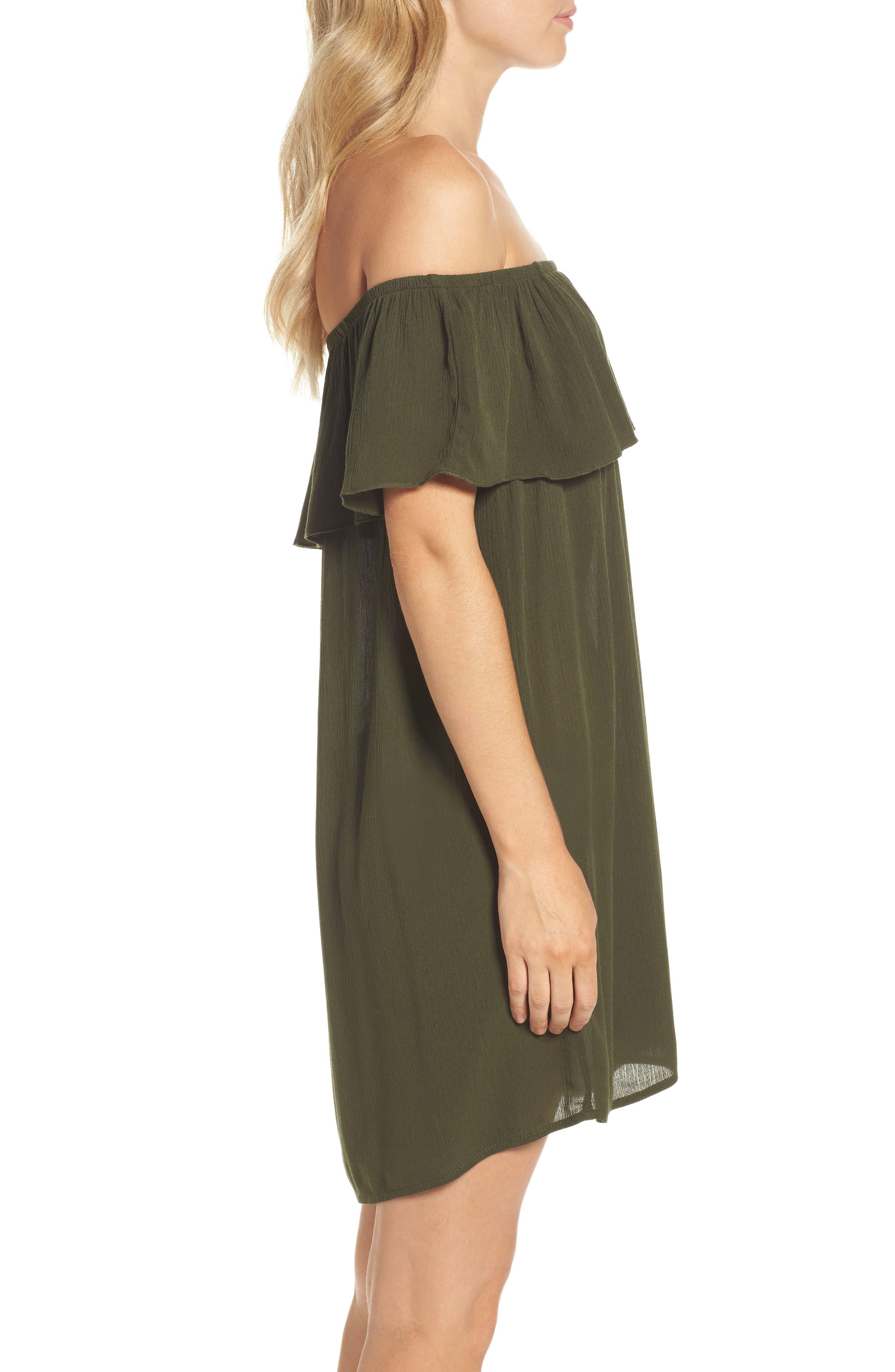 Southern Belle Off the Shoulder Cover-Up Dress,                             Alternate thumbnail 3, color,                             Bay Leaf