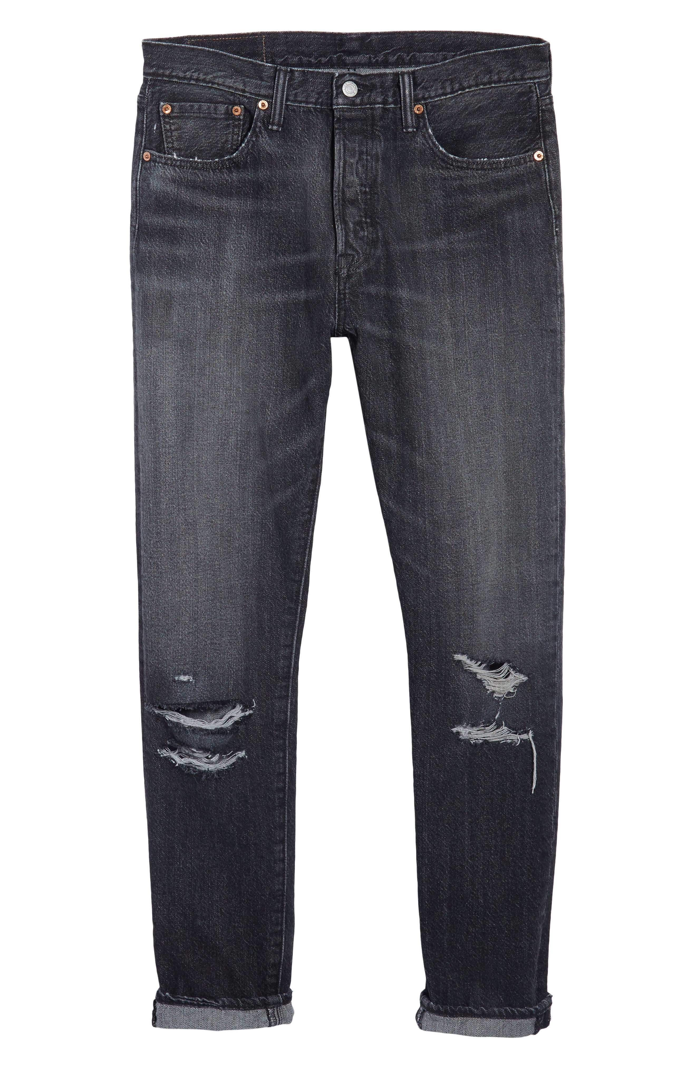 Alternate Image 6  - Levi's® 501™ Slouchy Tapered Slim Fit Jeans (Black Moor)