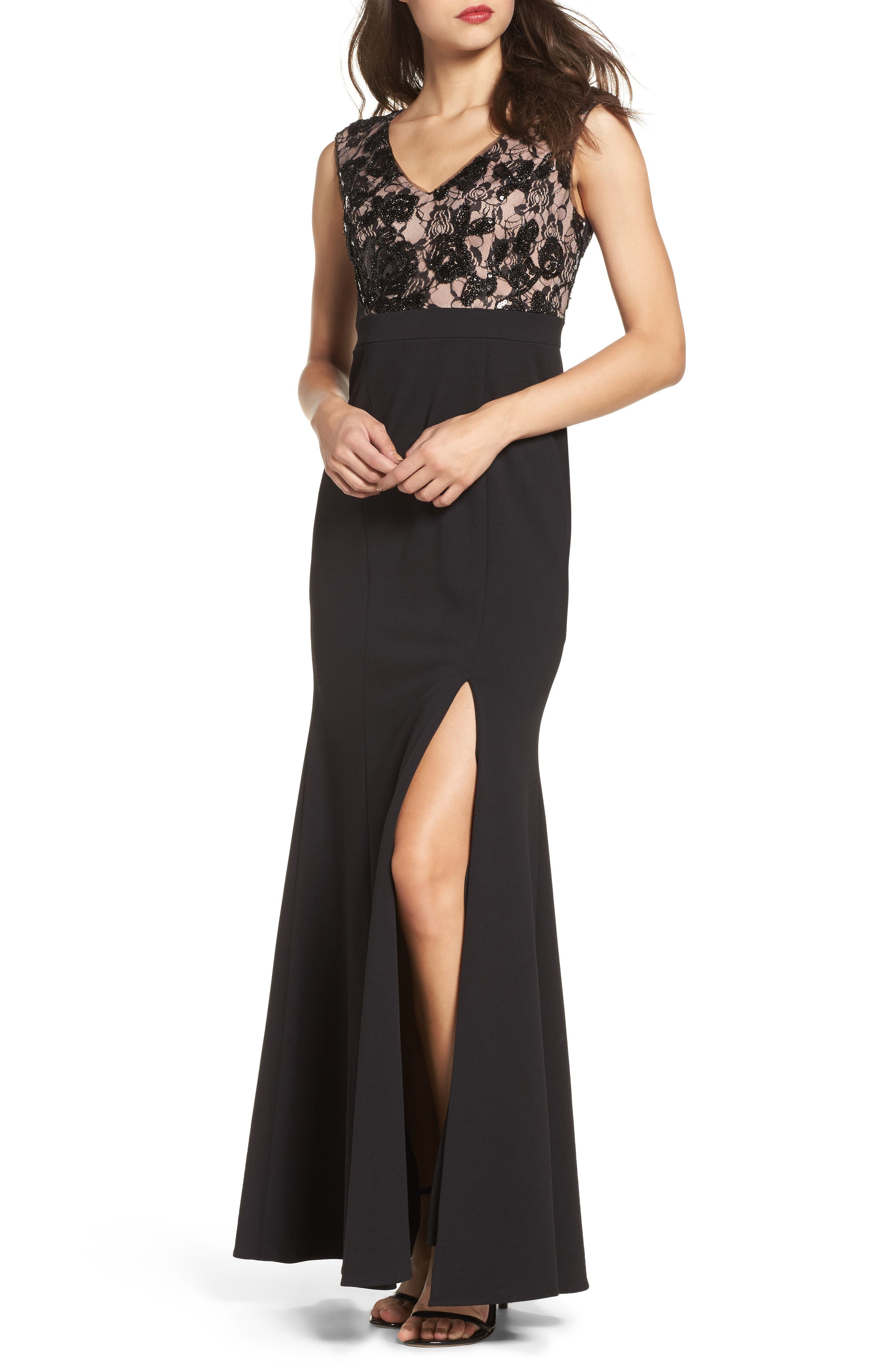Lace Bodice Mermaid Gown,                             Main thumbnail 1, color,                             Black Nude