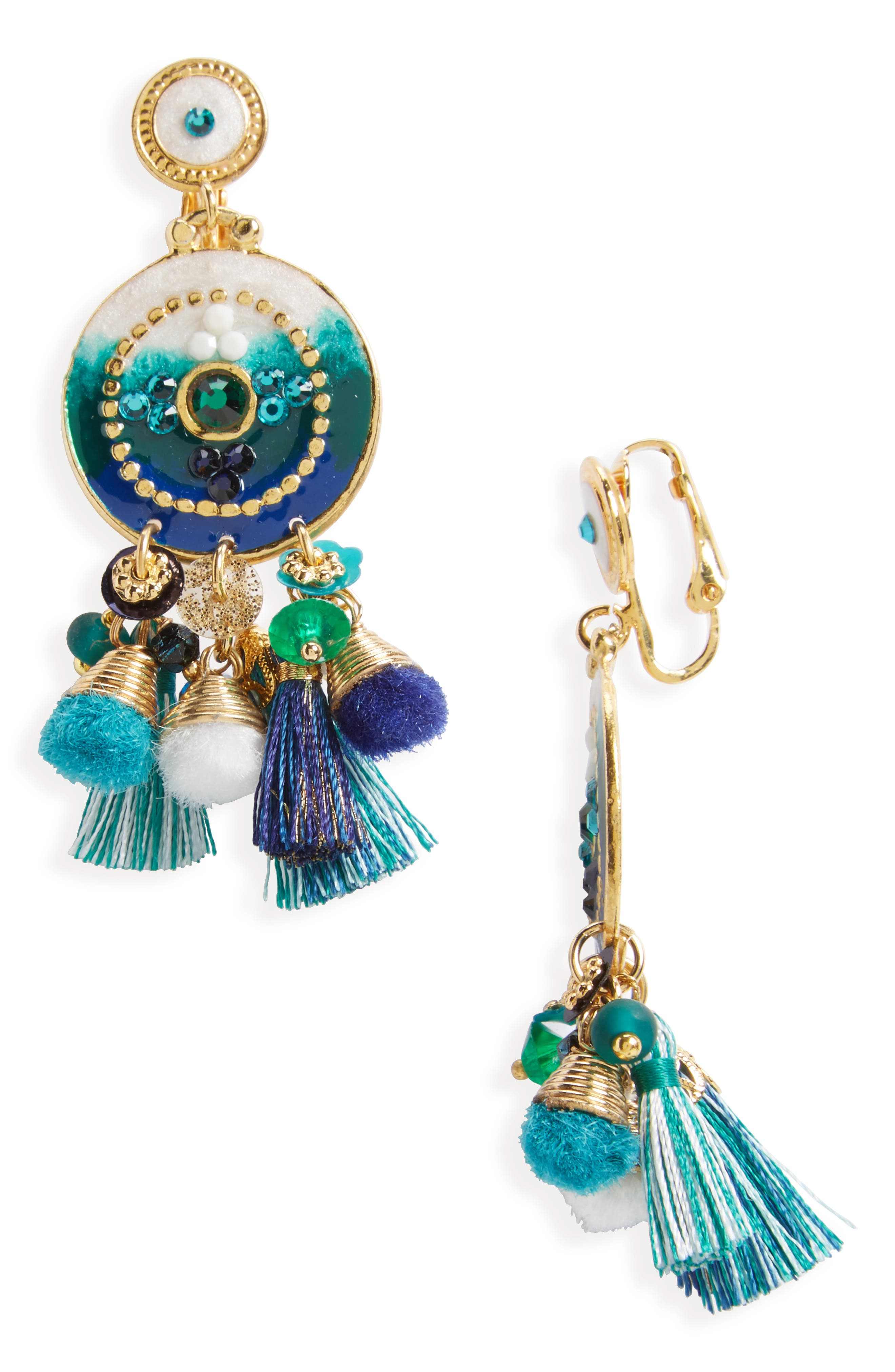 Stella Clip Earrings,                         Main,                         color, Blue Green