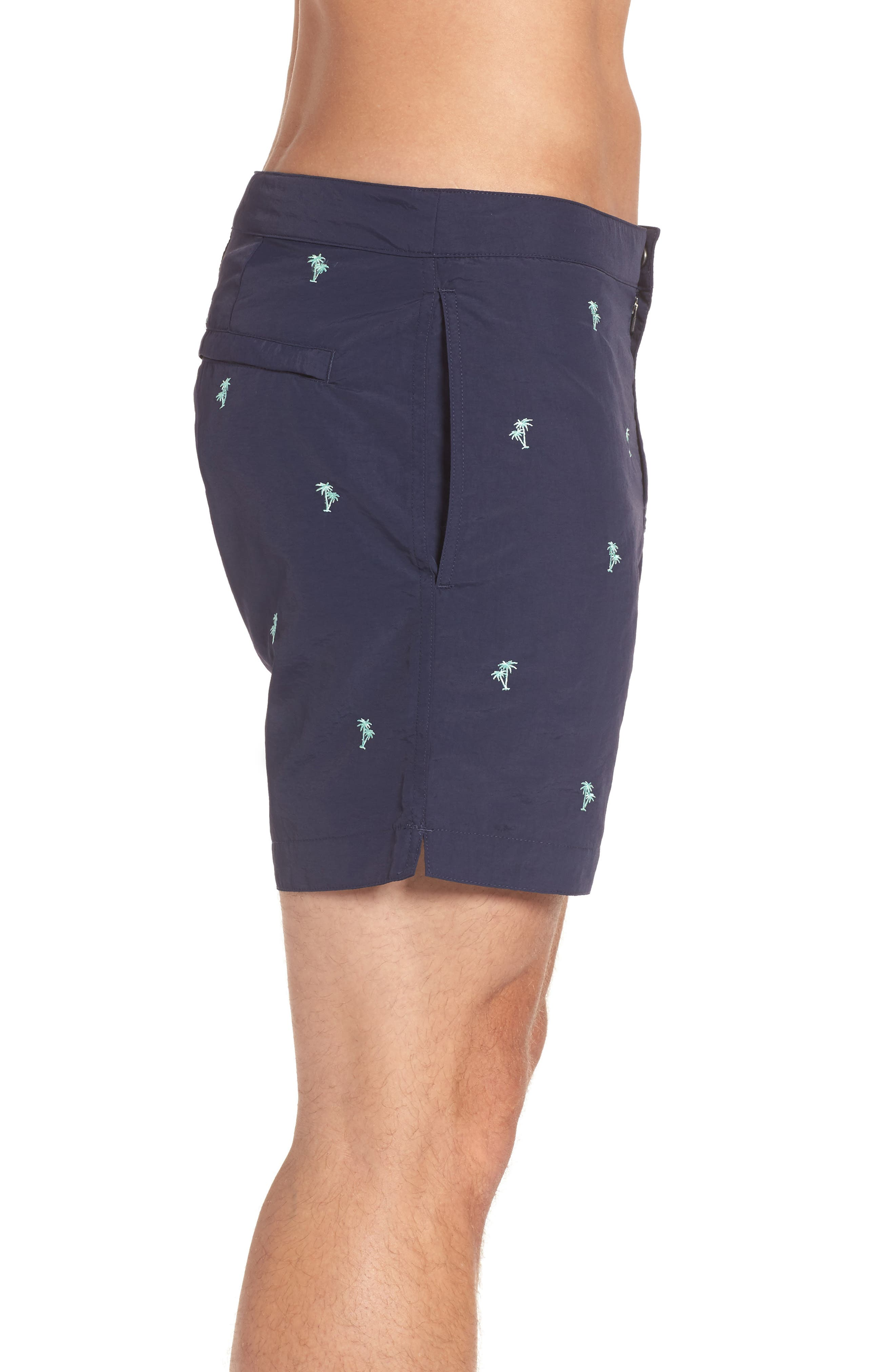 Aruba Tailored Fit Embroidered Palm Swim Trunks,                             Alternate thumbnail 3, color,                             Navy Emb Palm Trees