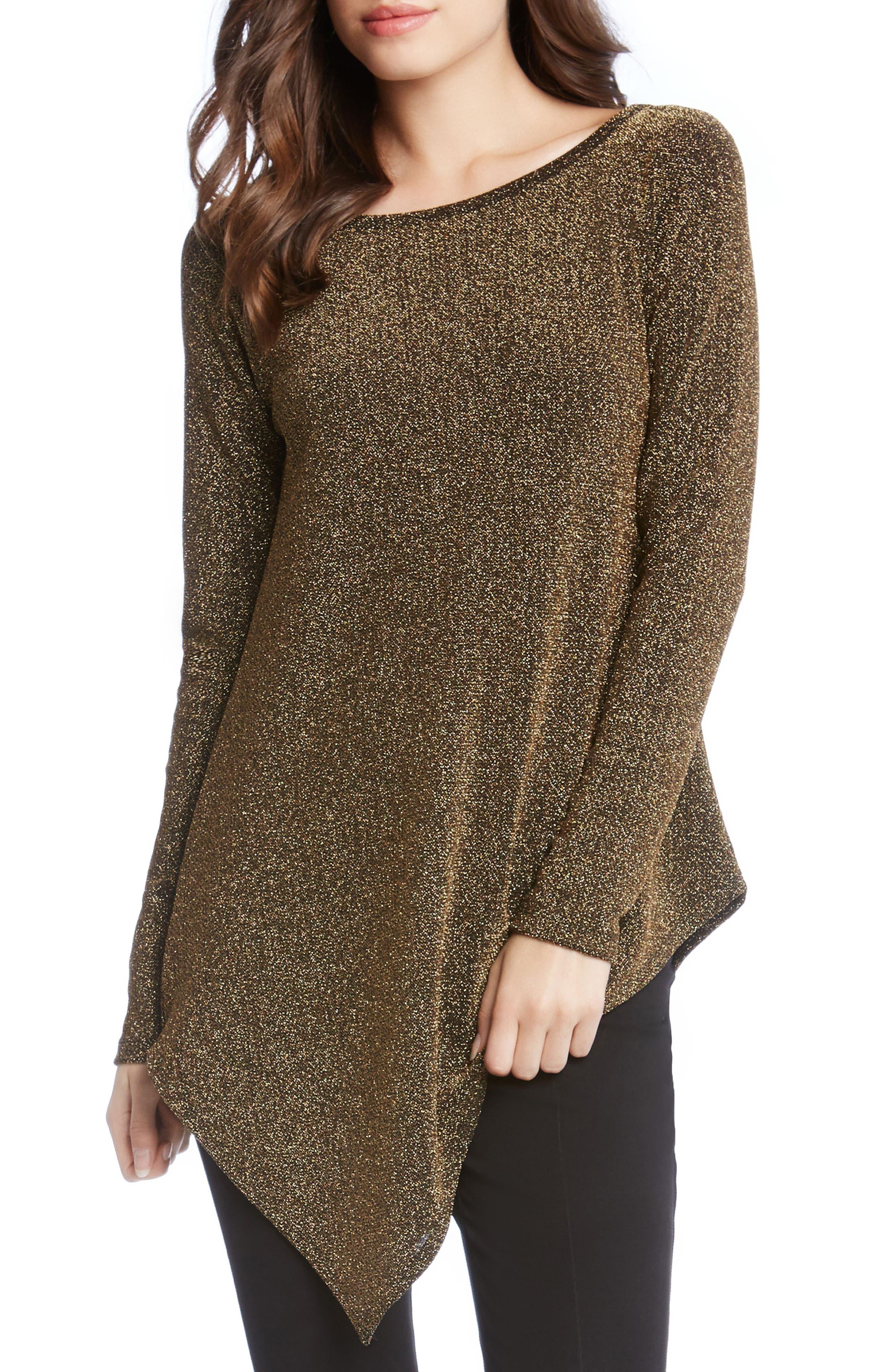 Main Image - Karen Kane Gold Knit Asymmetrical Hem Top