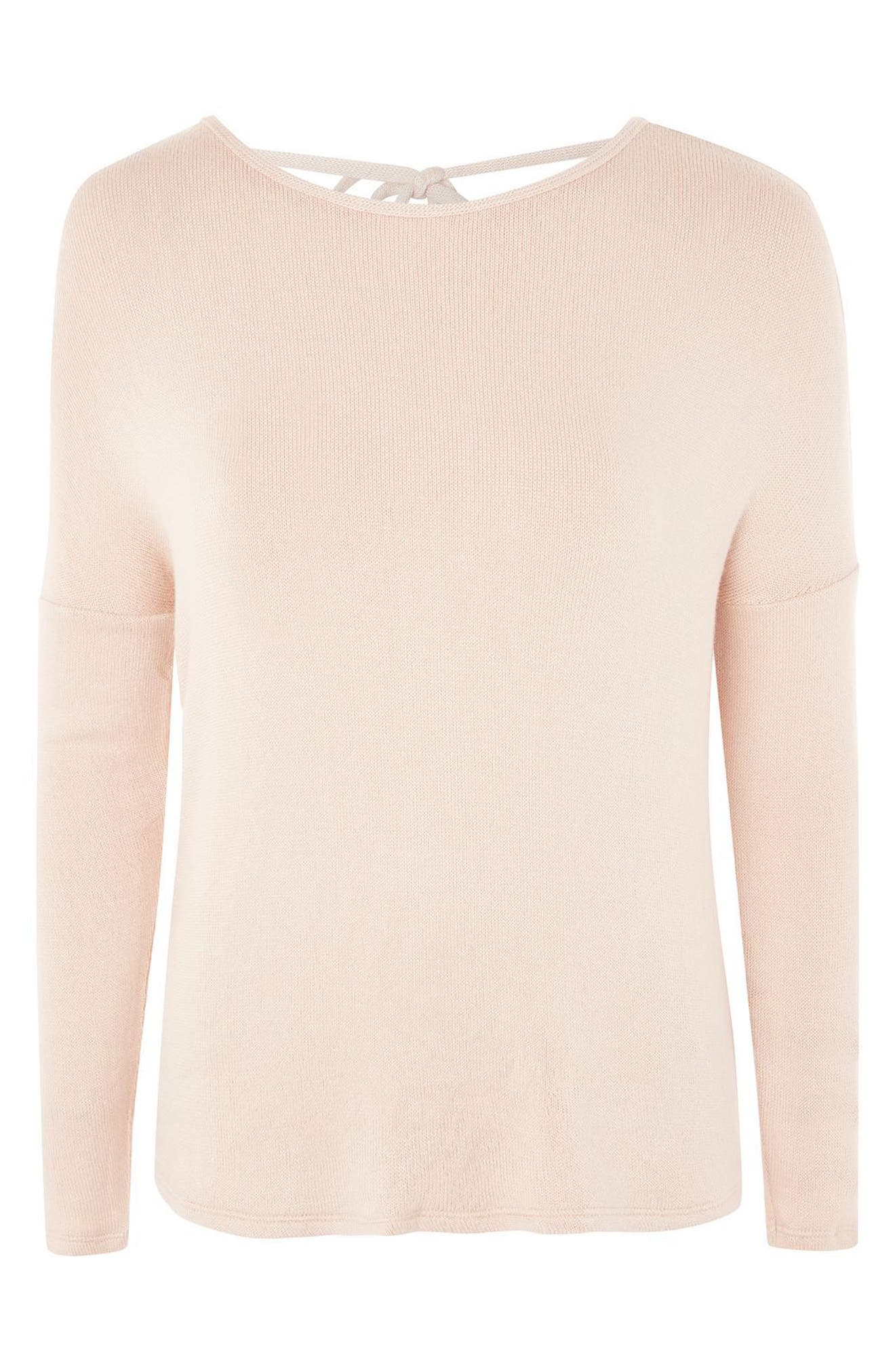 Tie Back Sweater,                             Alternate thumbnail 4, color,                             Nude