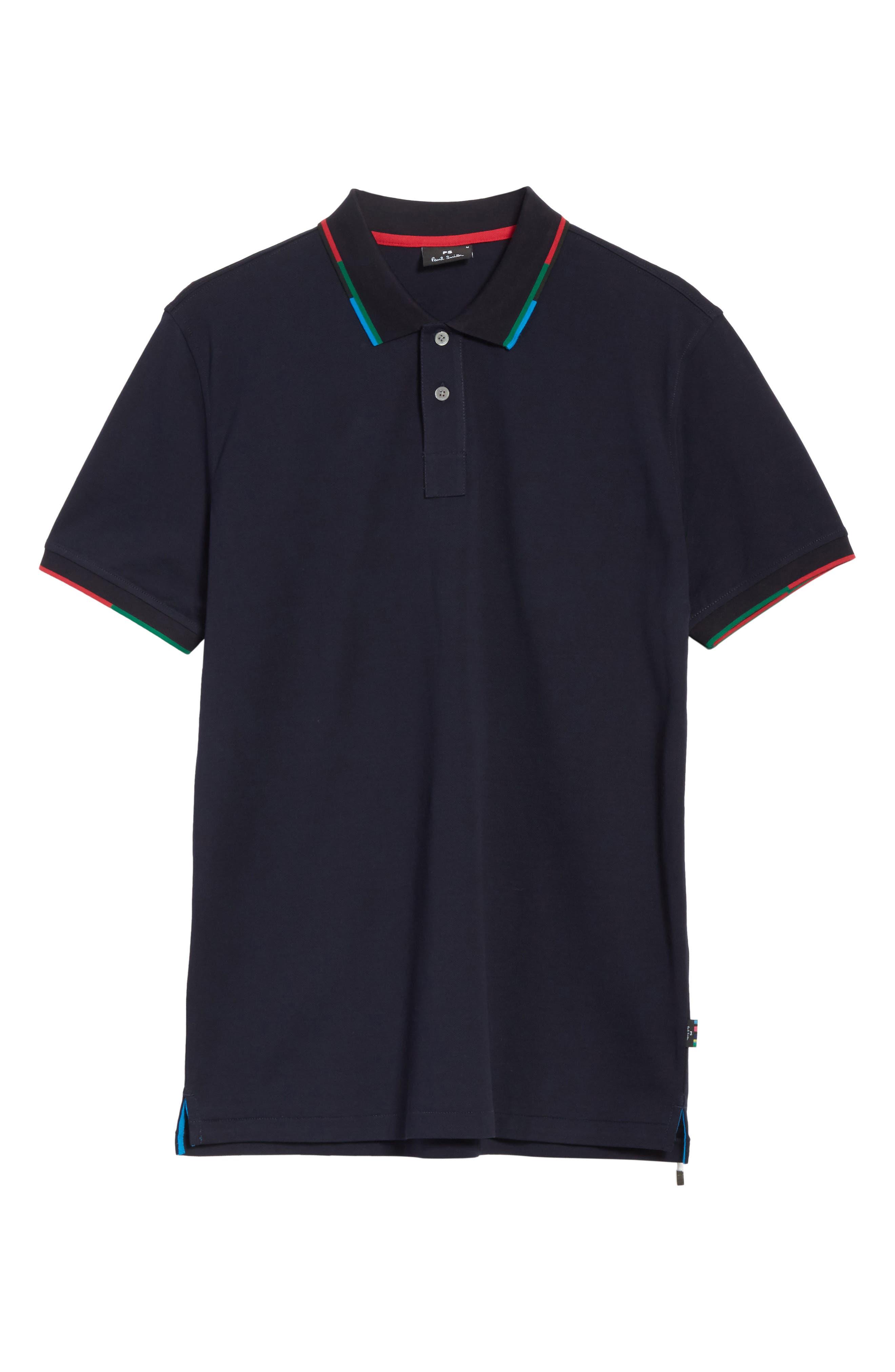 Stripe Trim Piqué Polo,                             Alternate thumbnail 6, color,                             Blue