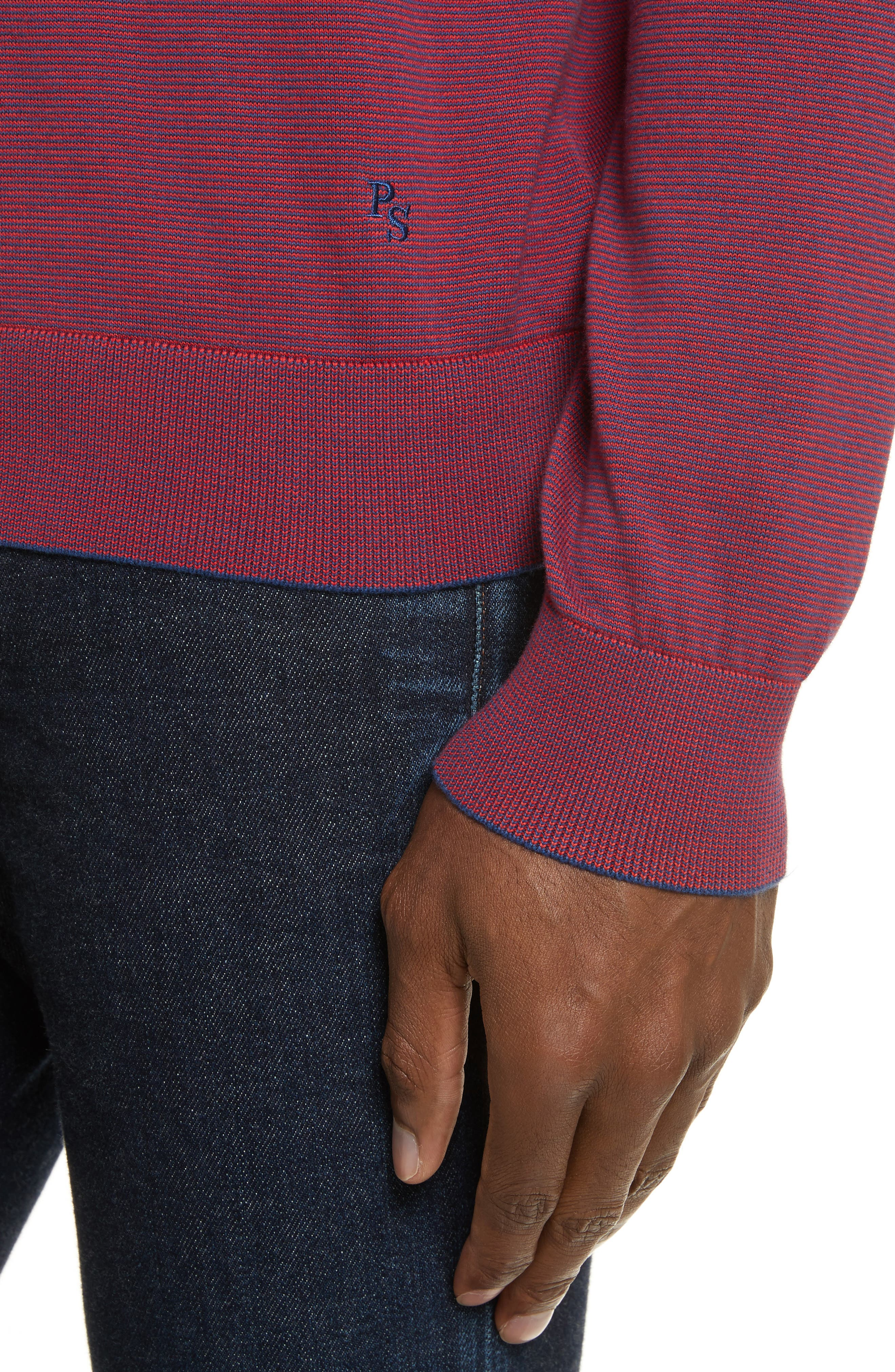 Ministripe Crewneck Sweater,                             Alternate thumbnail 4, color,                             Red