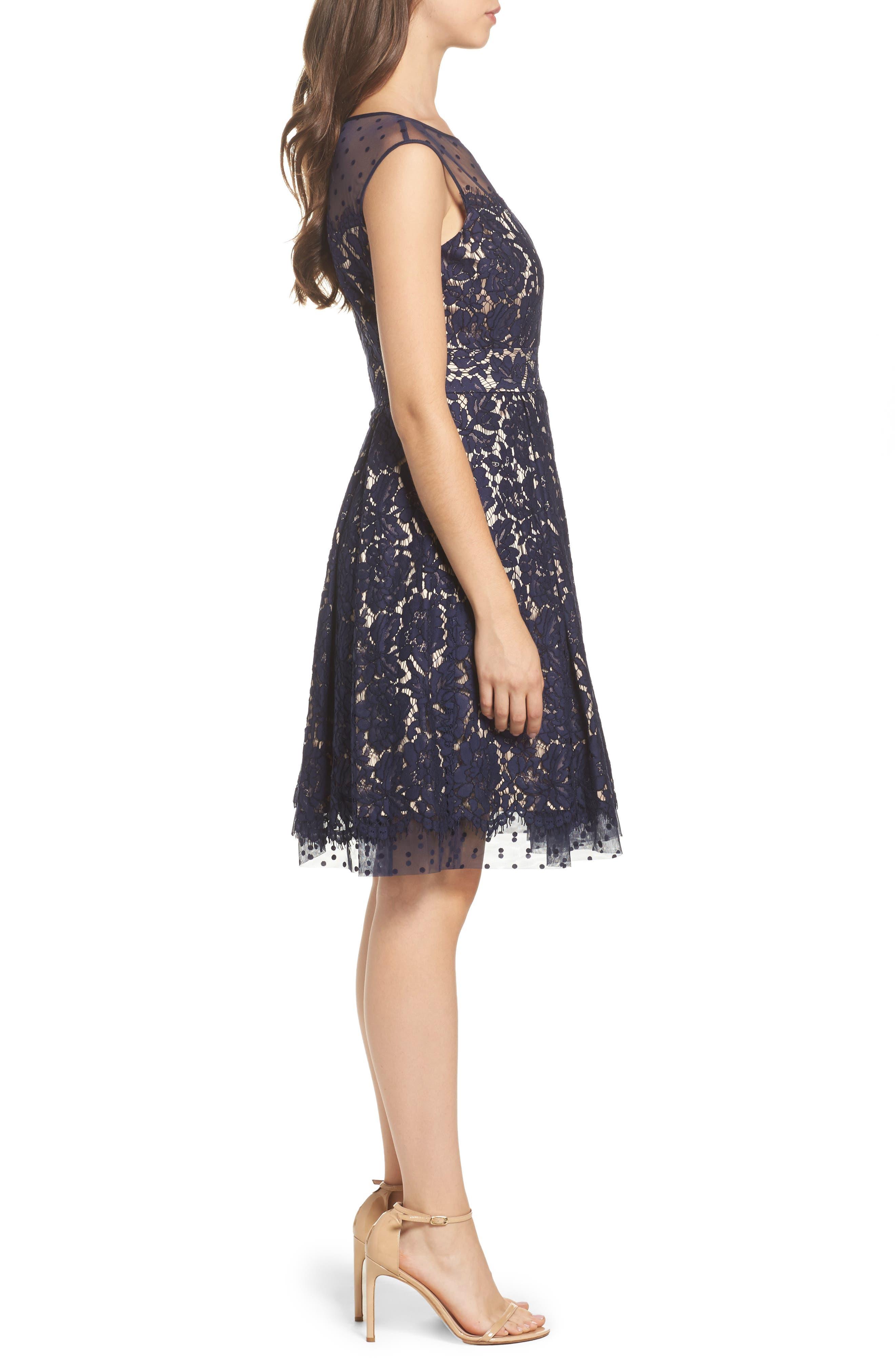 Alternate Image 3  - Eliza J Illusion Yoke Lace Fit & Flare Dress
