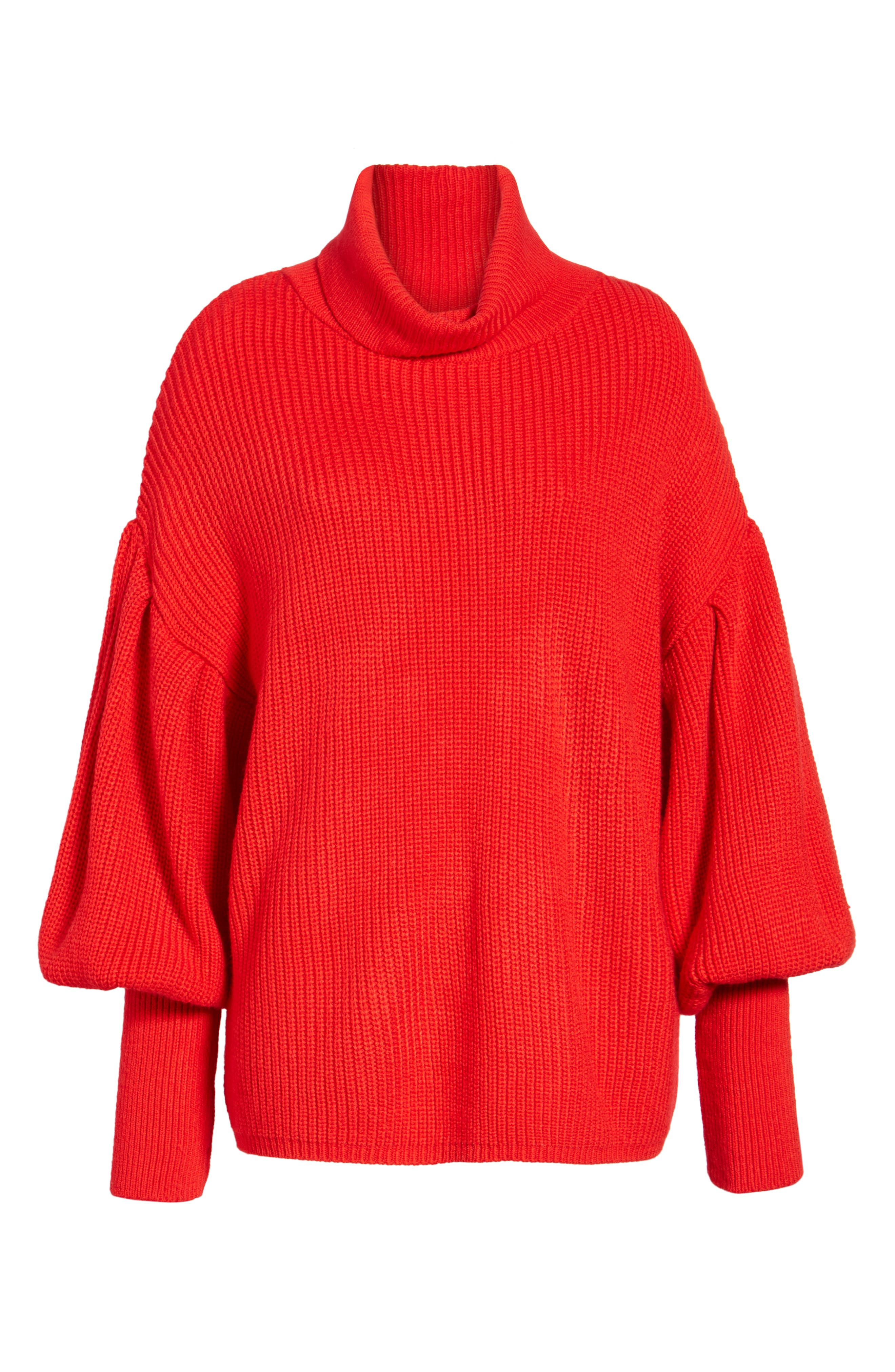 Balloon Sleeve Turtleneck Sweater,                             Alternate thumbnail 8, color,                             Red
